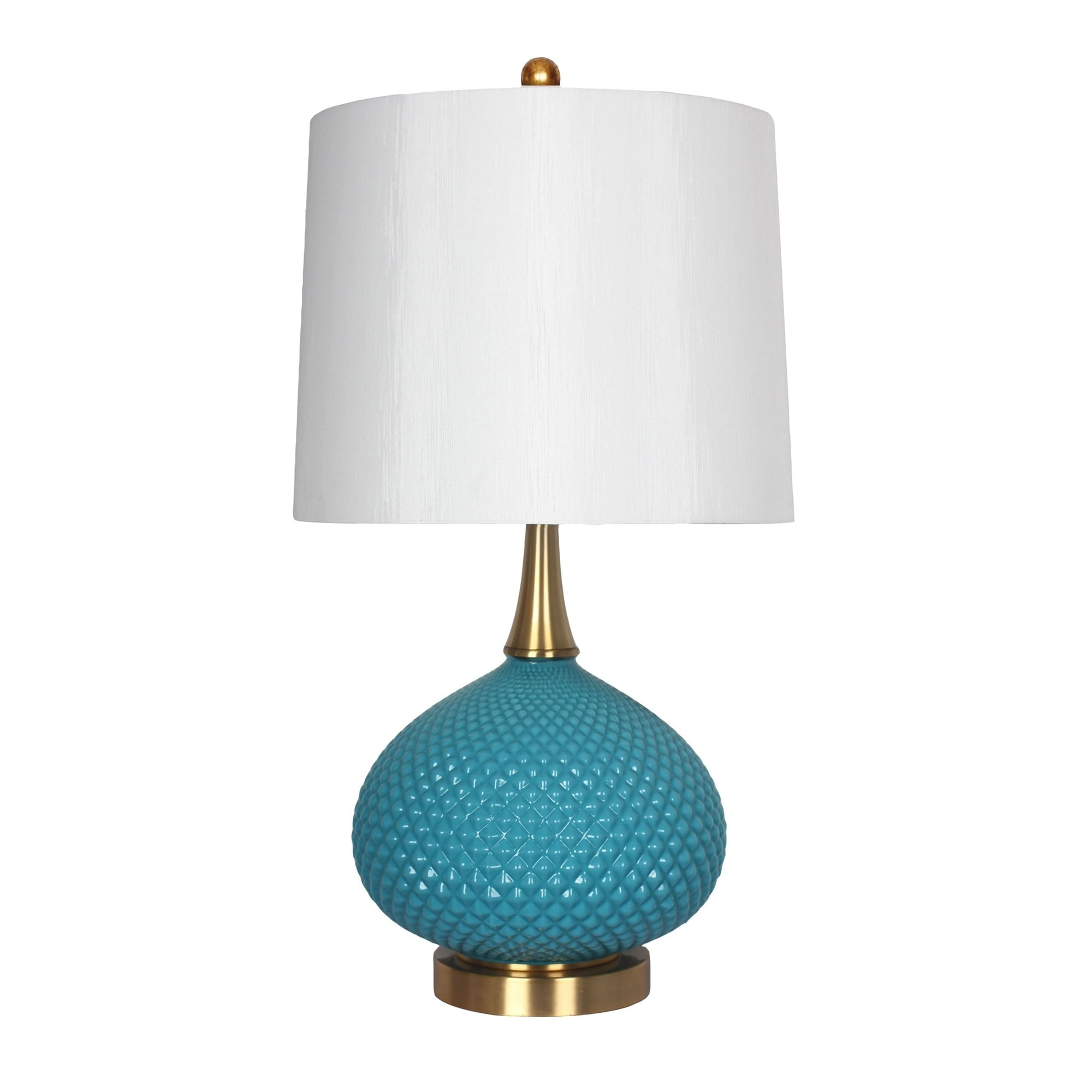 Shop Cut Glass Round Table Lamp Usb Port Blue 28 Free Shipping