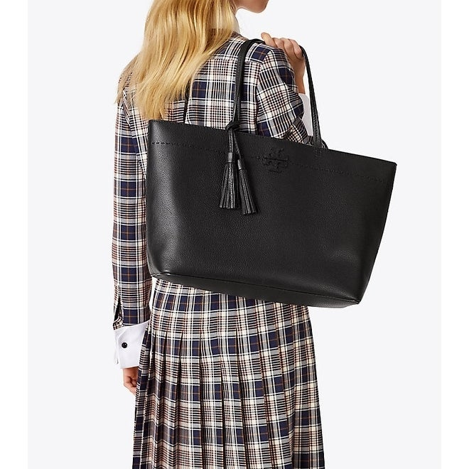 e471dd3cd4e Shop Tory Burch MCGRAW TOTE Black Royal Navy - Free Shipping Today -  Overstock - 25628018