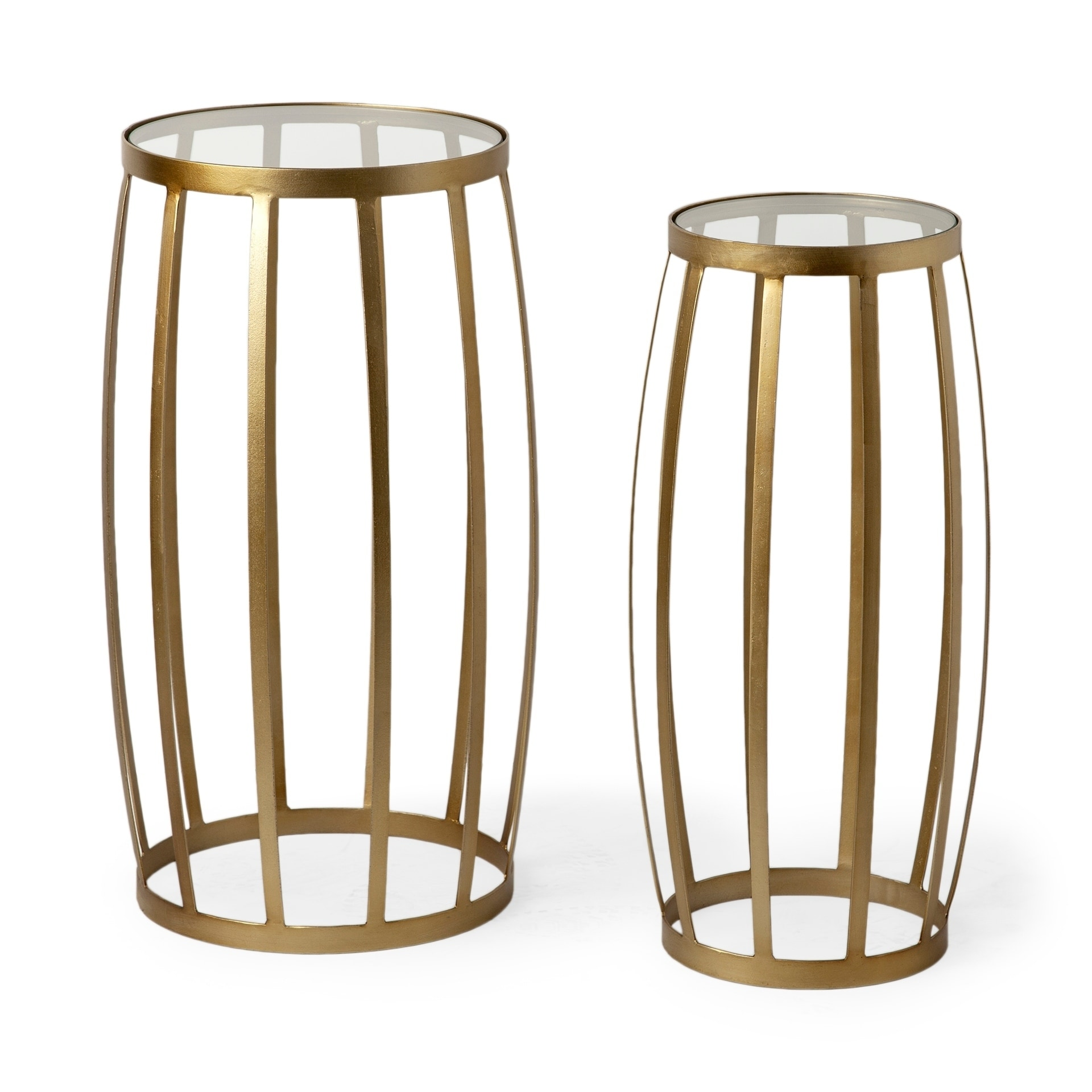 Shop mercana silhouette gold finish iron and glass accent tables set of 2 free shipping today overstock com 25628314
