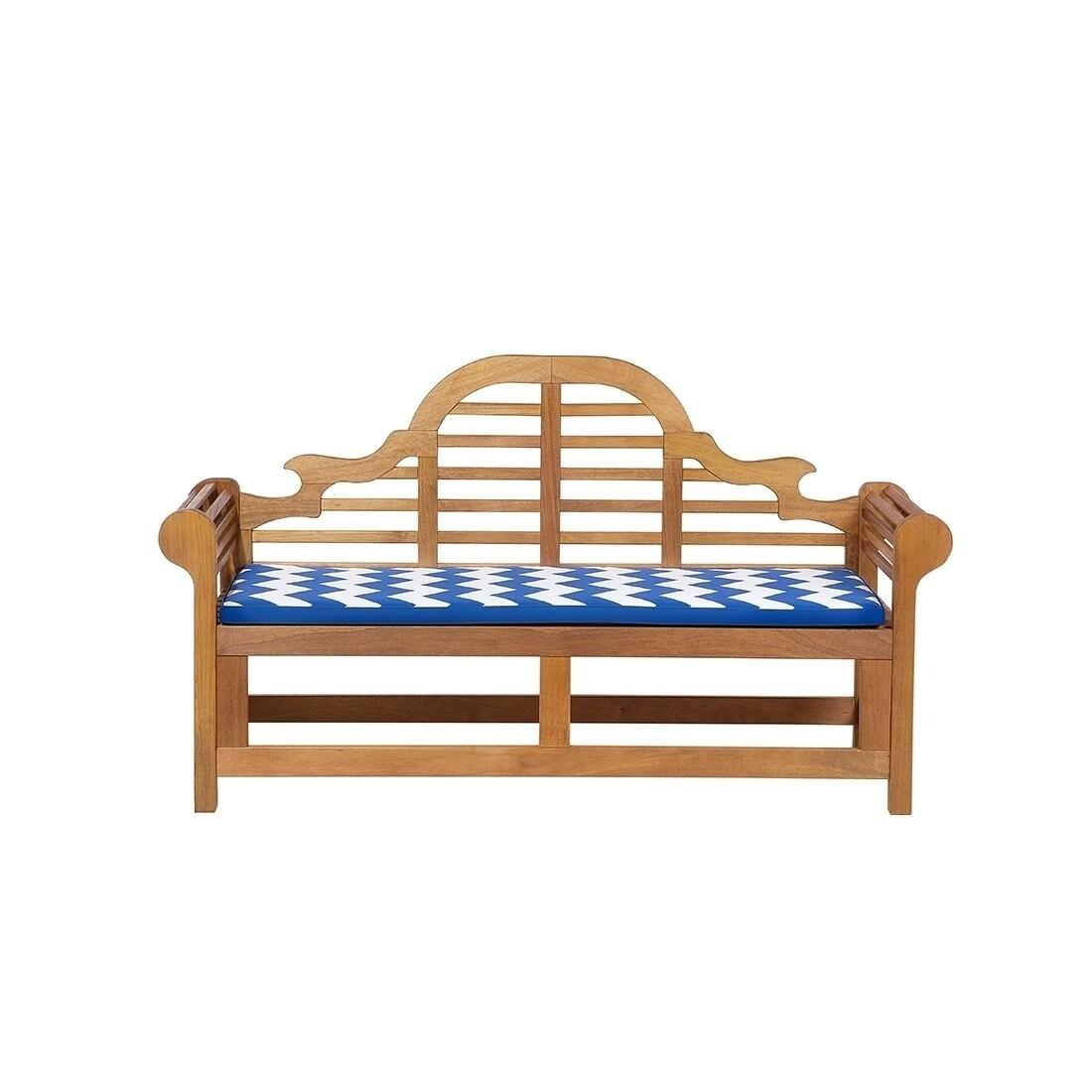 Garden bench seat cushion chevron blue marlboro