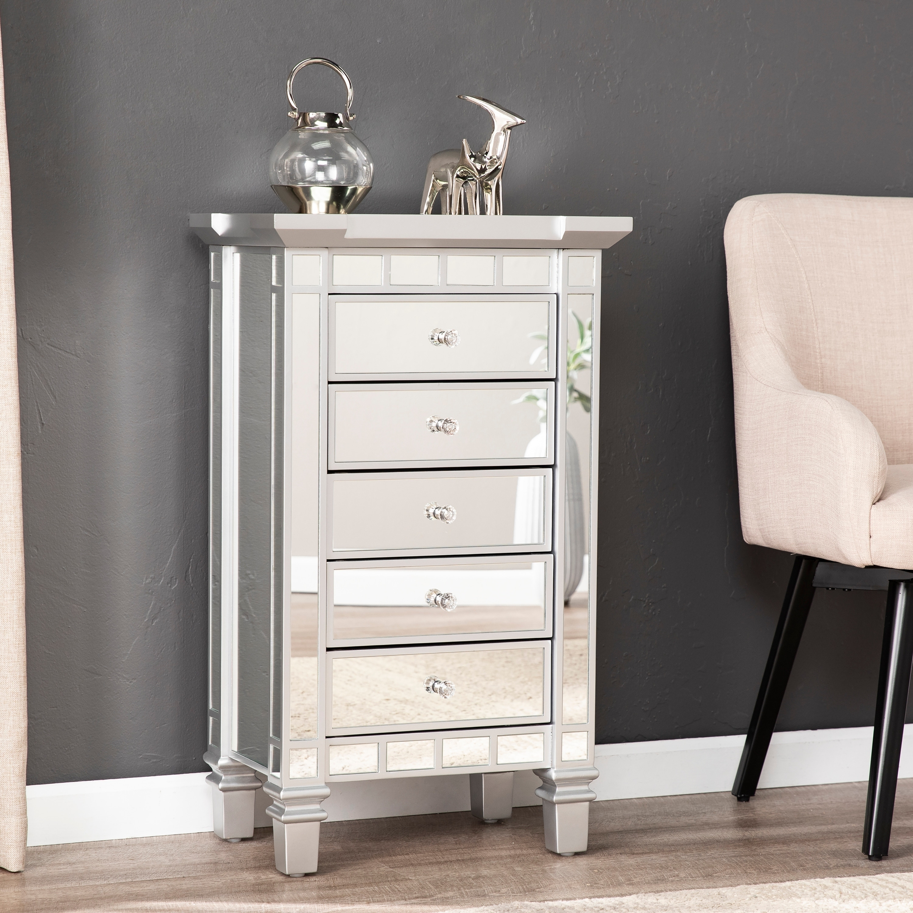 Silver Orchid Mailes Mirrored 5 Drawer Accent Chest