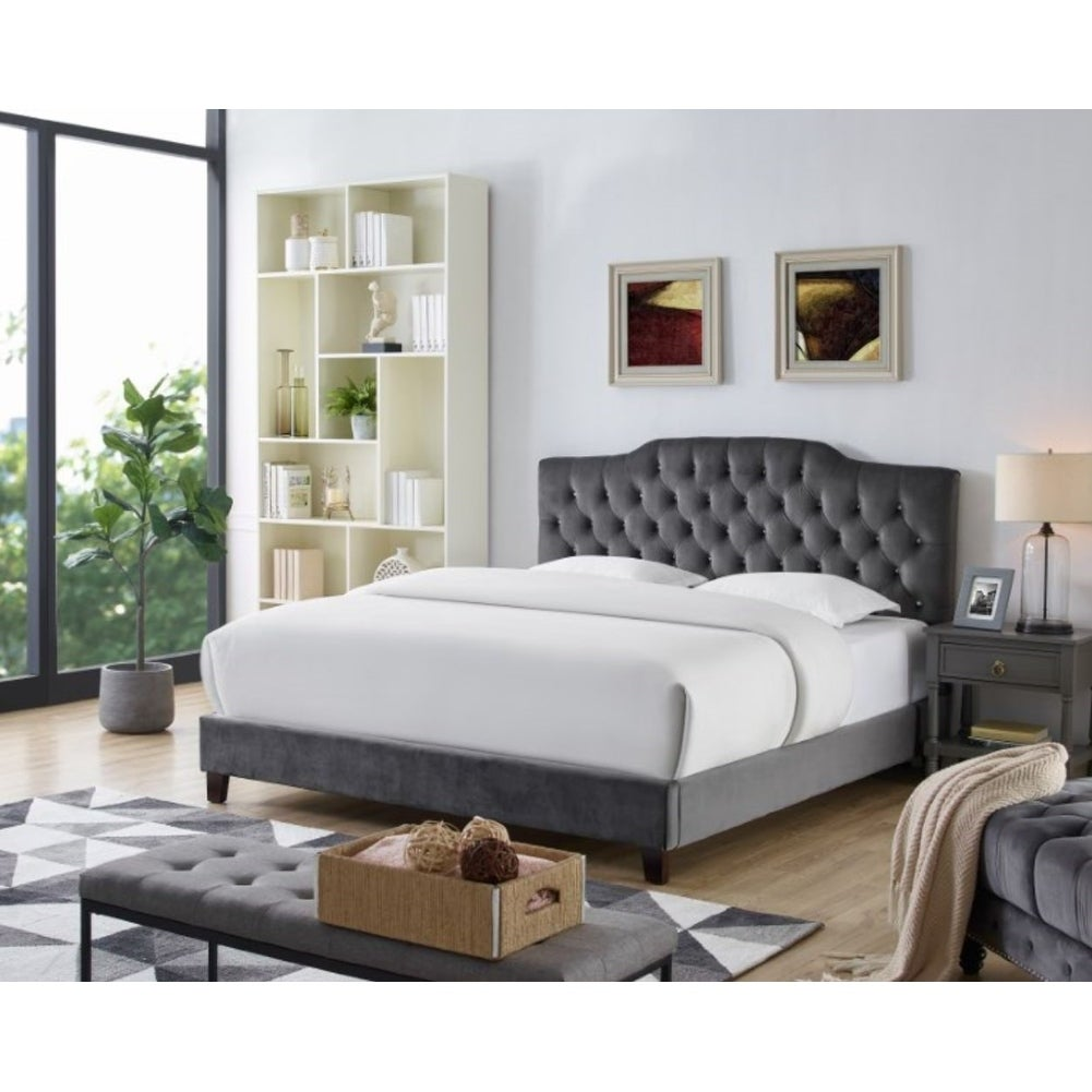 Shop lorenzo grey velvet platform bed frame free shipping today overstock com 25643367