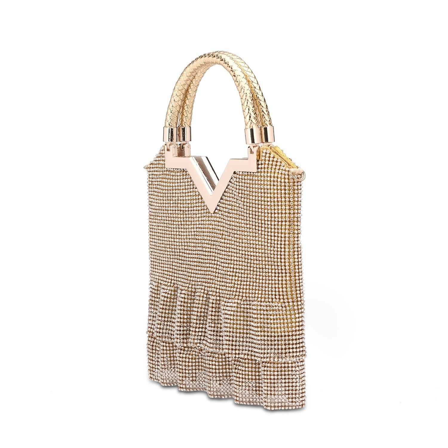 ab5b4d7f420e Hearty Trendy Crystal Glass Rhinestone Dress Design Evening Bag with Metal  Frame and Weave Handle