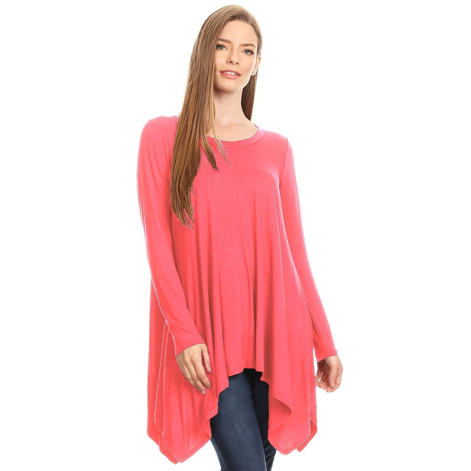 b06676c401 Shop Women s Loose Fit Round Neck Solid Tunic Top - Free Shipping On ...