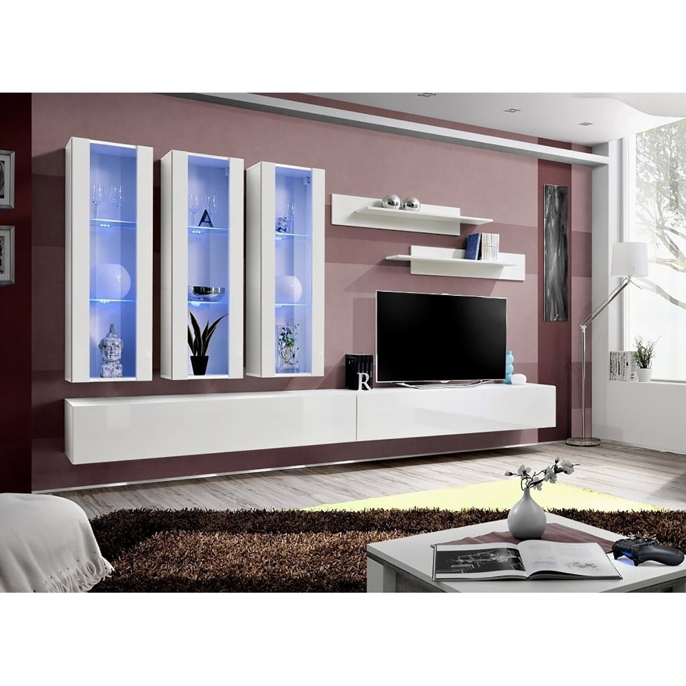 Shop fly e wall mounted floating modern entertainment center on sale free shipping today overstock com 25686432
