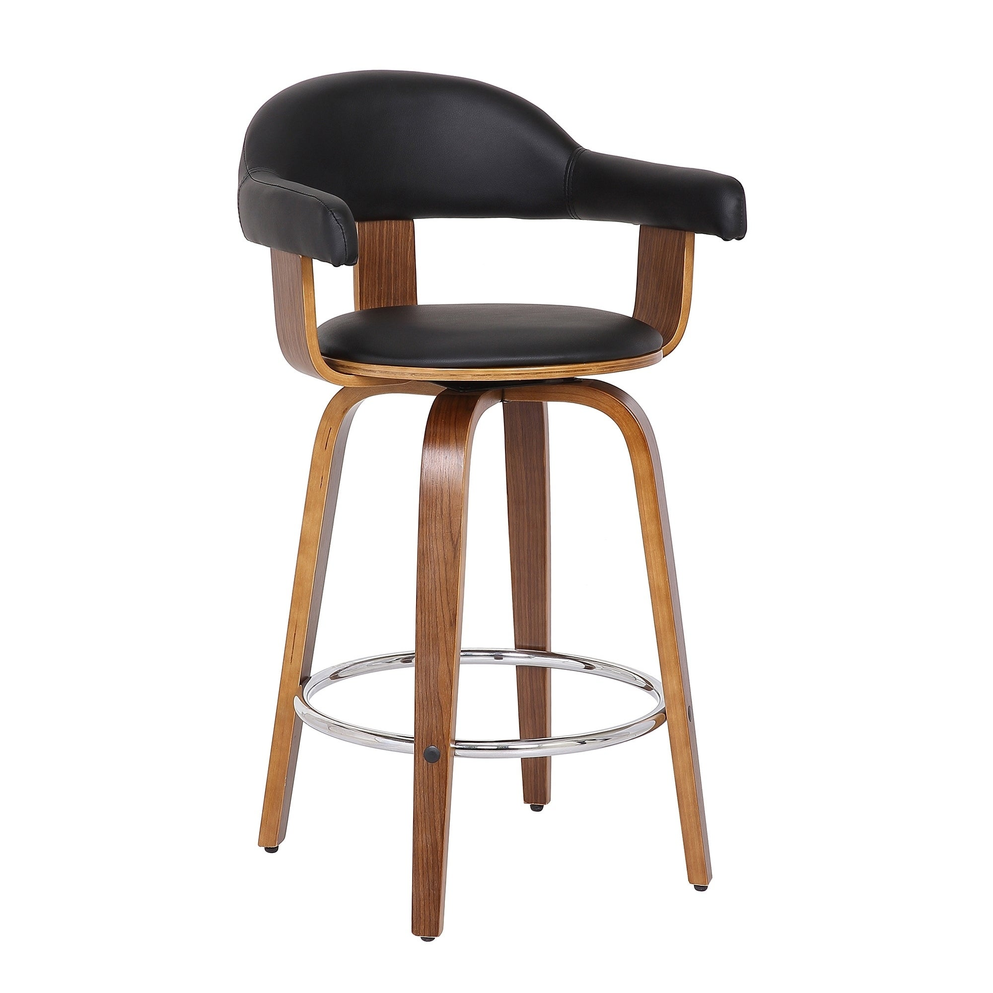 Damon Modern 26 Inch Walnut And Black Faux Leather Counter Height Bar Stool