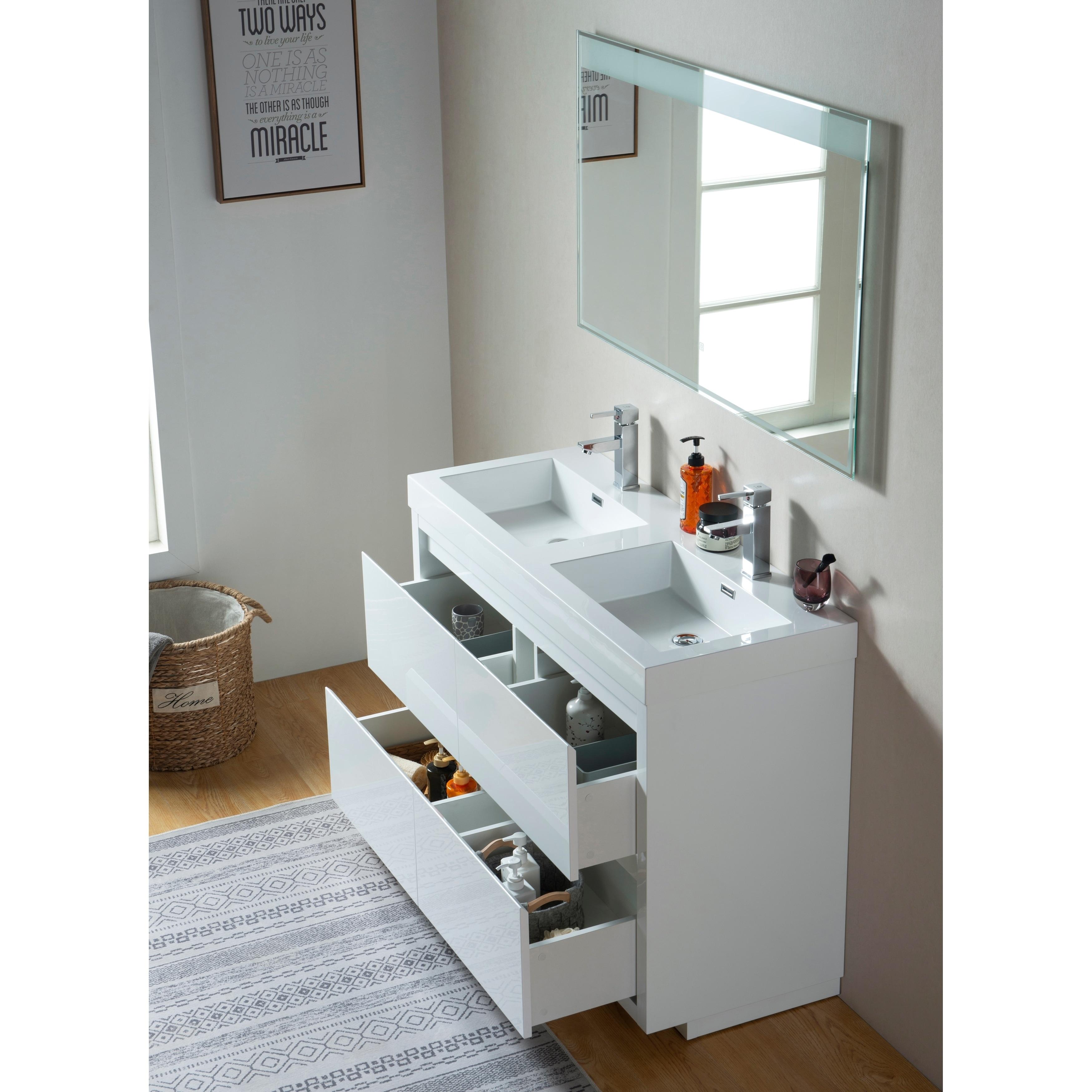 Shop Vanity Art 48 Inch Double Sink Bathroom Vanity With Resin Top