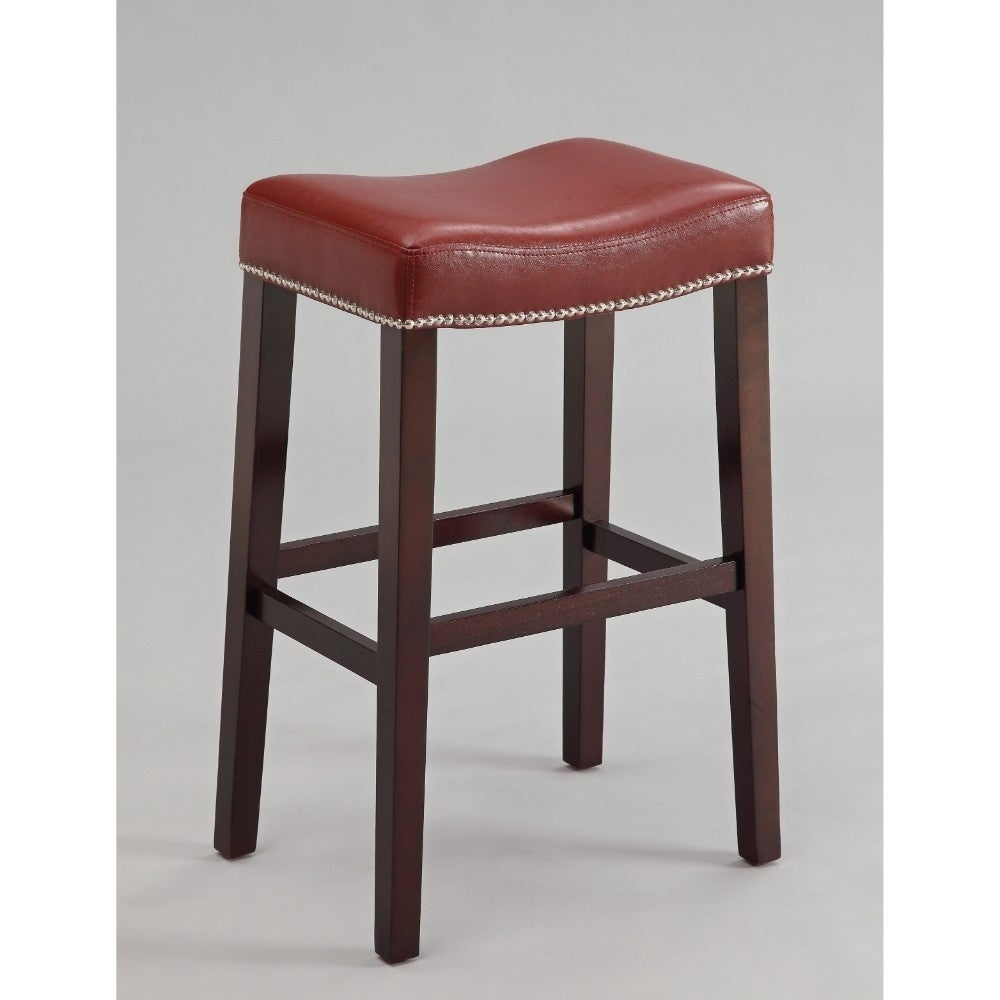 Polyurethane Upholstered Wooden Bar Stool Set Of Two Red And Brown Free Shipping Today 25710126