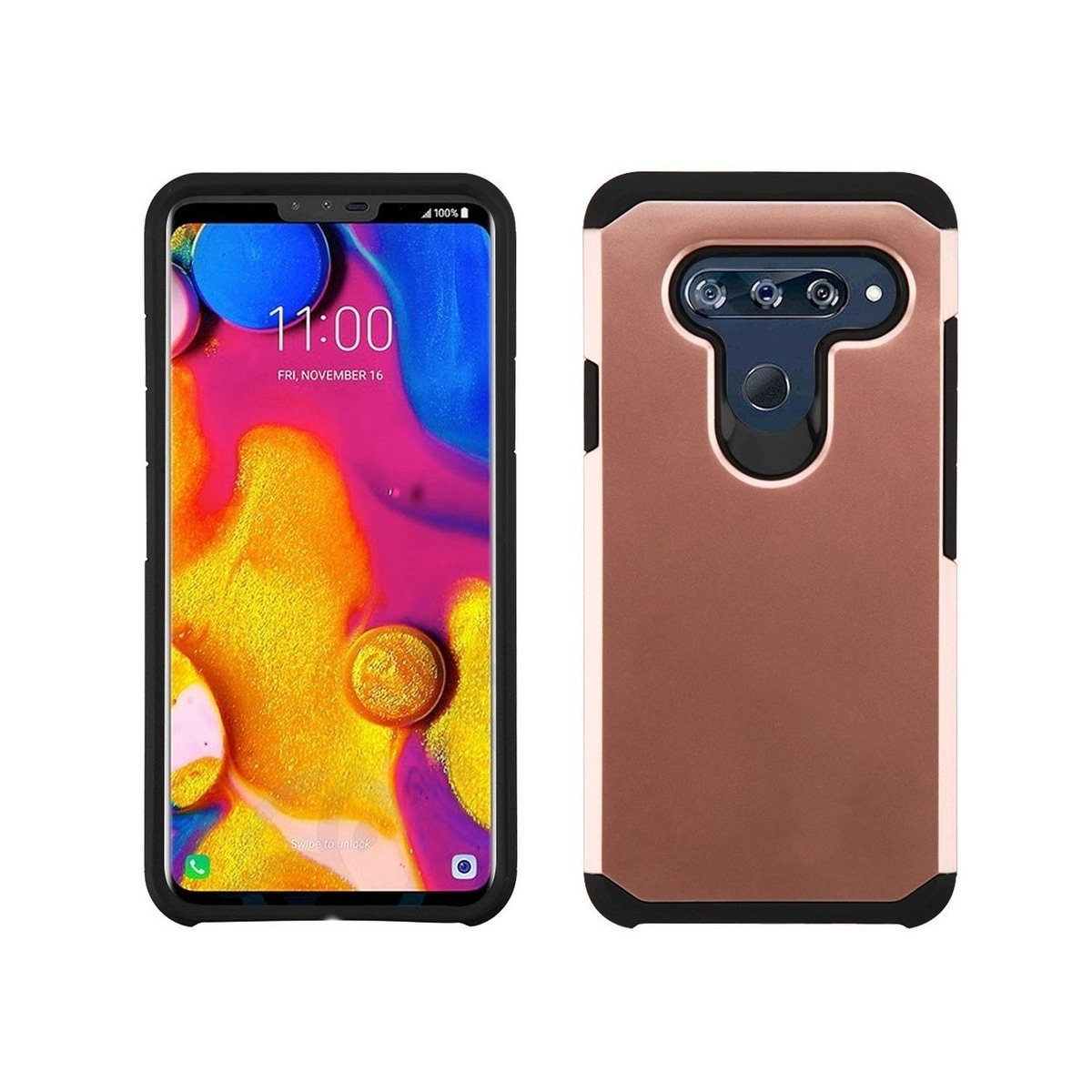 timeless design 8fcd4 eb472 Insten Astronoot Dual Layer Hybrid PC/TPU Rubber Case Cover for LG V40 ThinQ