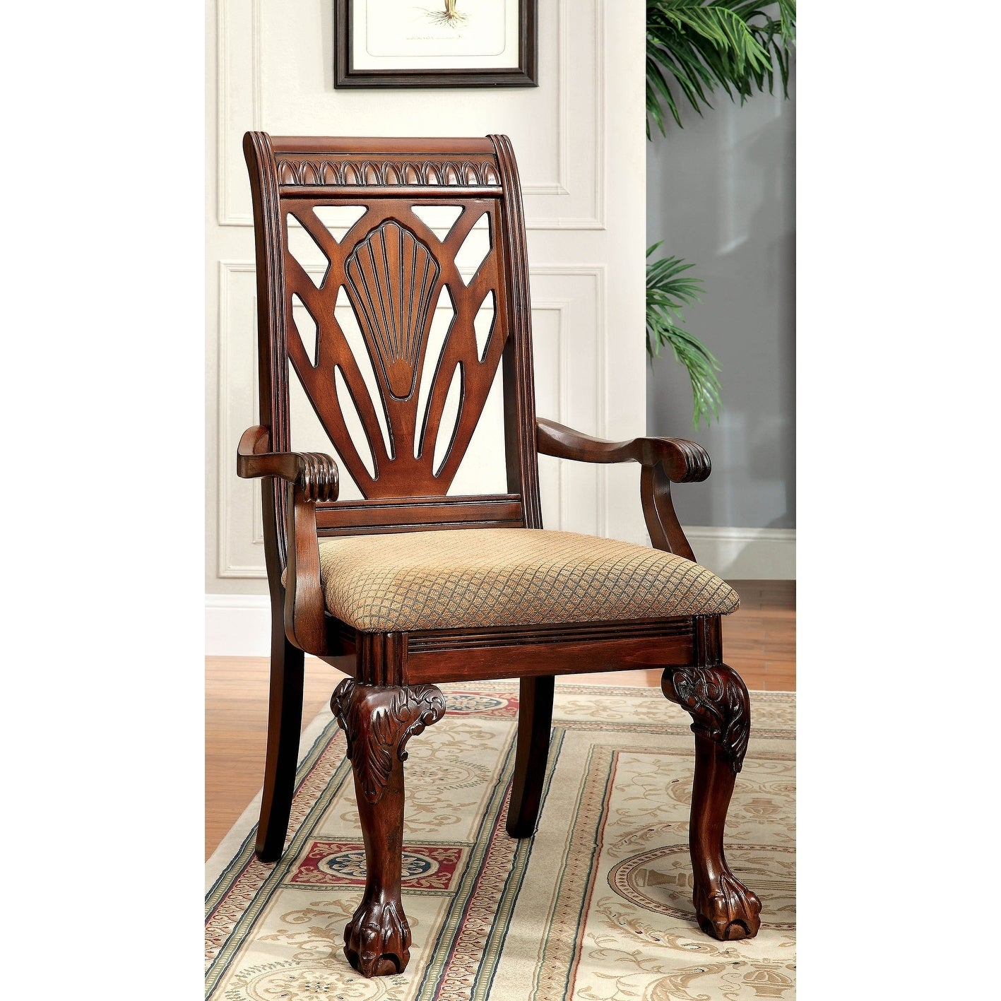 Shop williams import petersburg i cherry upholstered arm chairs set of 2 free shipping today overstock com 25720885