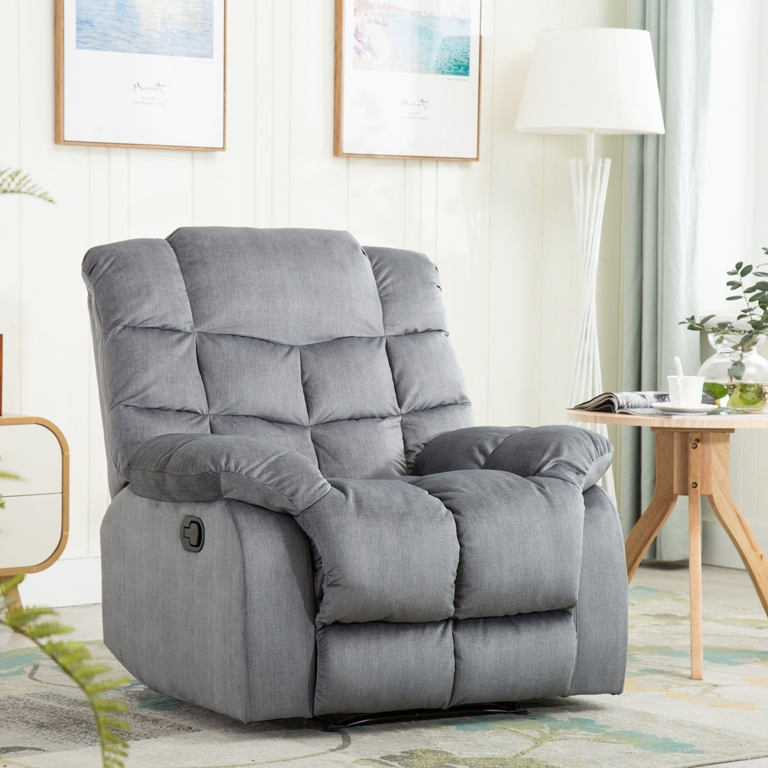 Recliner chair with over stuff backrest wide seat recliners slate gray