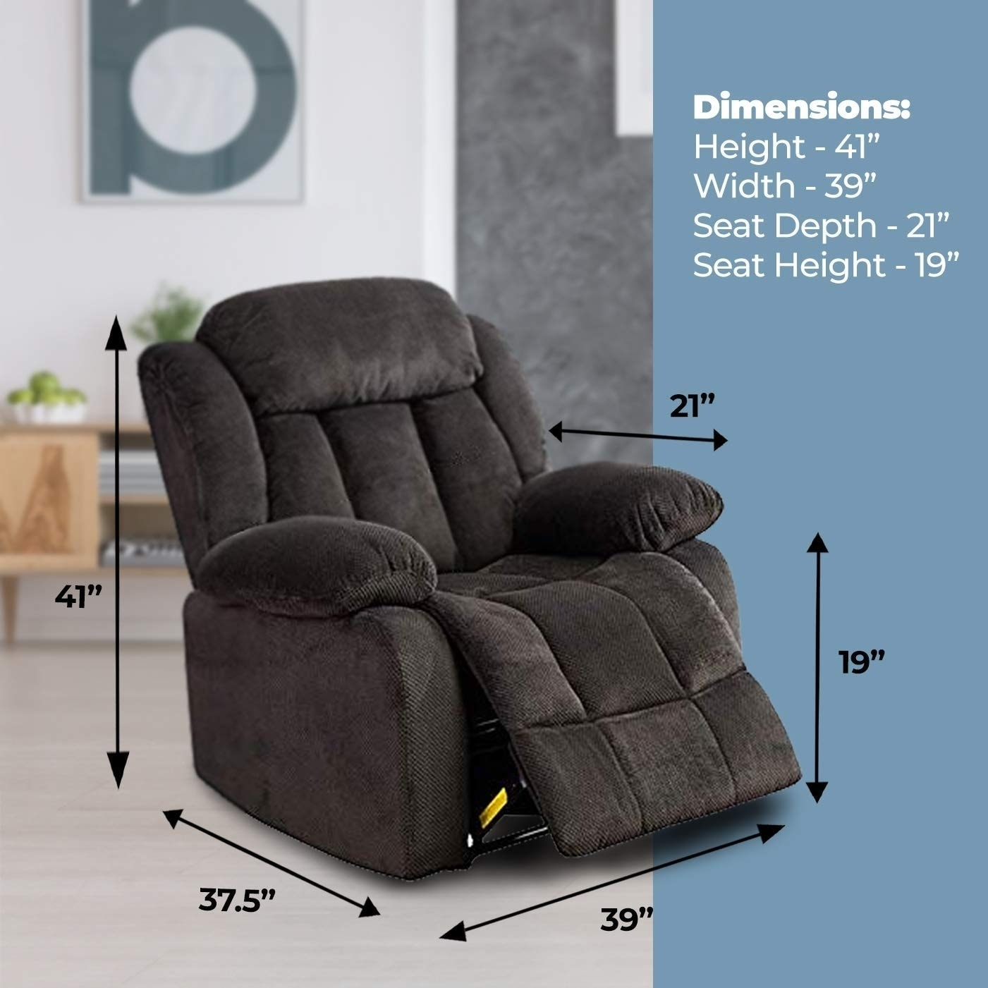 Shop oversized recliner chair microfiber cover living room lounge chair dark blue free shipping today overstock com 25724808