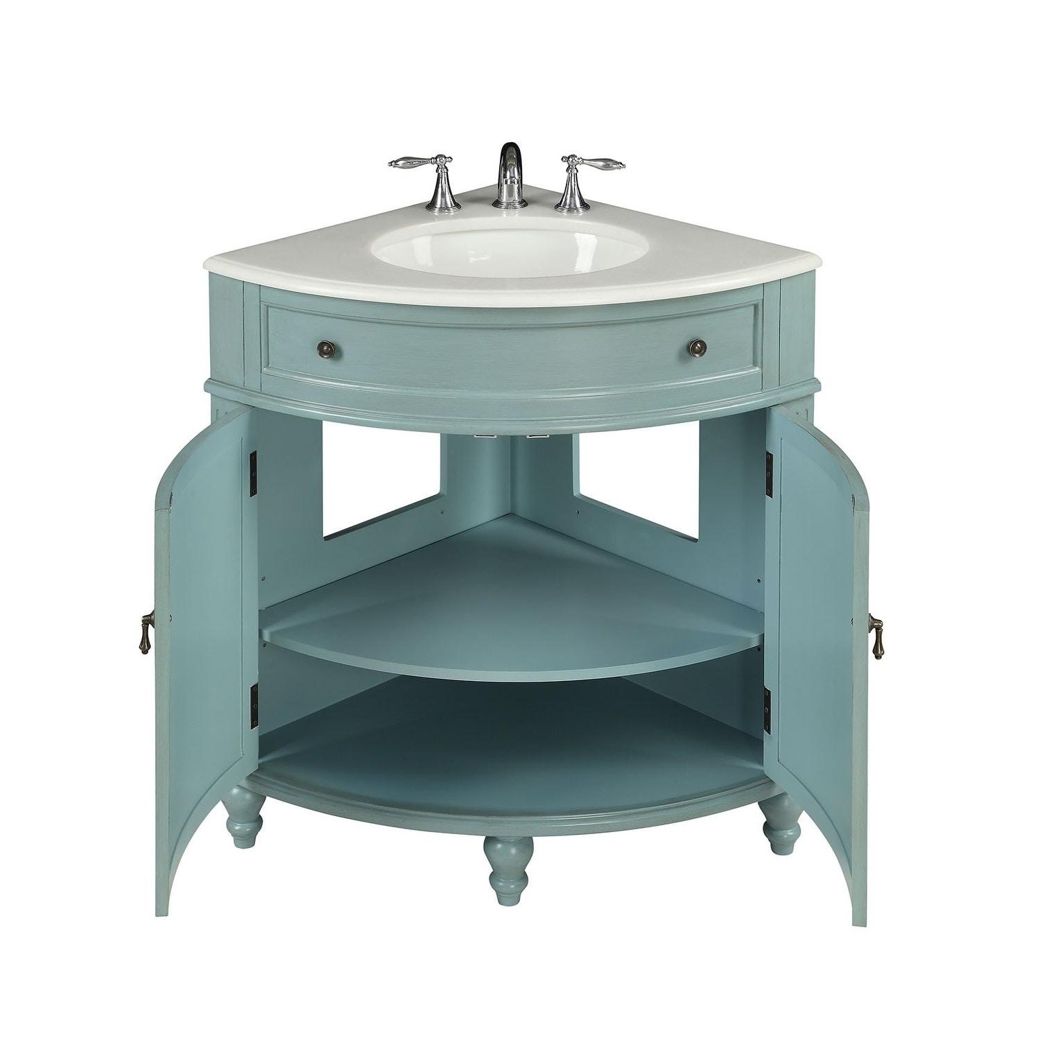 Shop 24 Benton Collection Thomasville Blue Corner Bathroom Sink