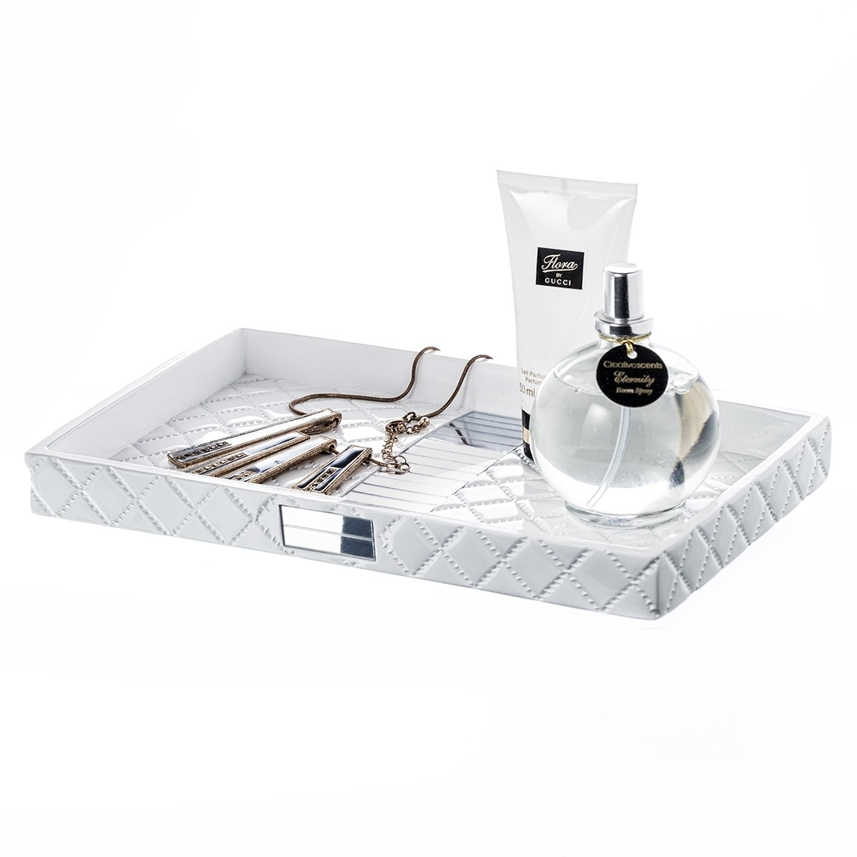 Quilted Mirror Vanity Tray For Arranging Perfume Jewelry Makeup On Sale Overstock 25729964