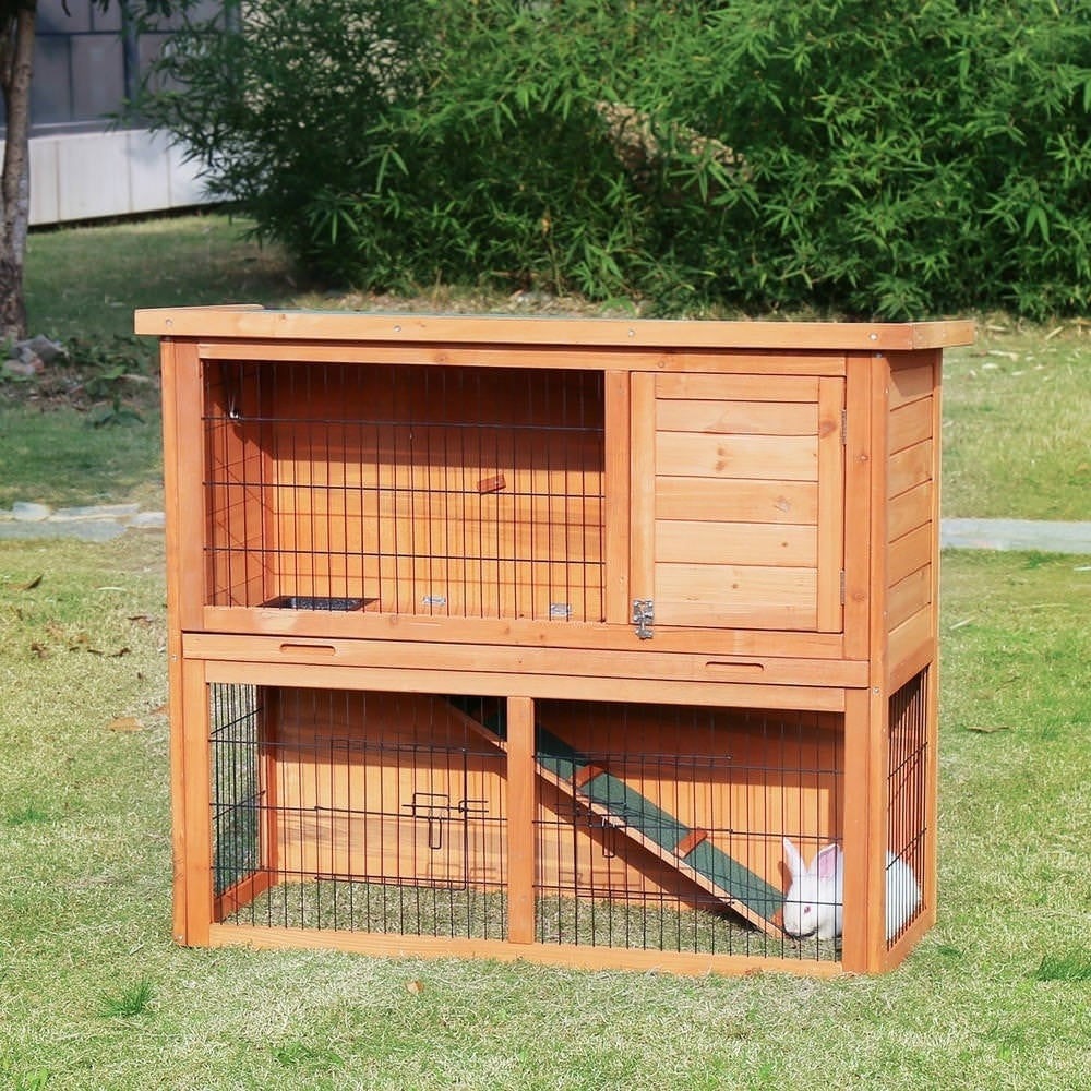 Kinbor 41 Inch Wooden Rabbit Hutch Bunny Cage Small Animal House Pet