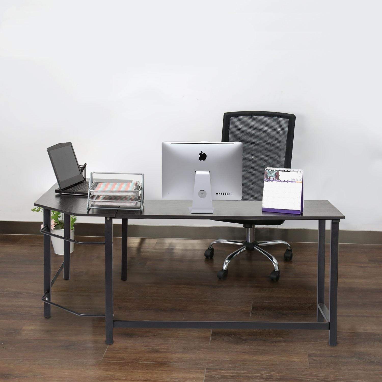 Kinbor L Shaped Desk Corner Computer Desk Home Office Workstation Writing  Table
