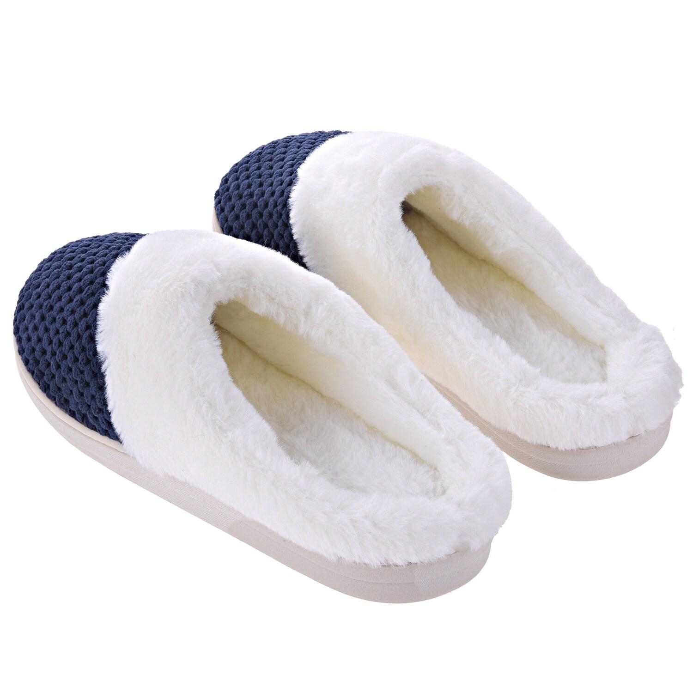 8c2ffd29061af Women Comfort Fuzzy Plush Lining Memory Foam Slippers - Winter Warm  Indoor/Outdoor Slip on Clogs