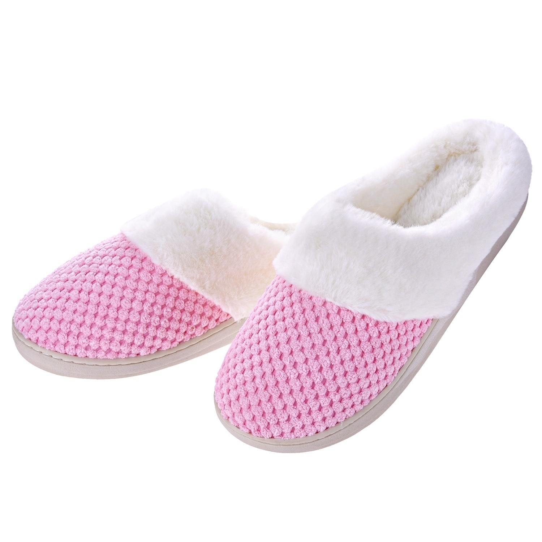 90da595fb3c80 Women Comfort Fuzzy Plush Lining Memory Foam Slippers - Winter Warm  Indoor/Outdoor Slip on Clogs