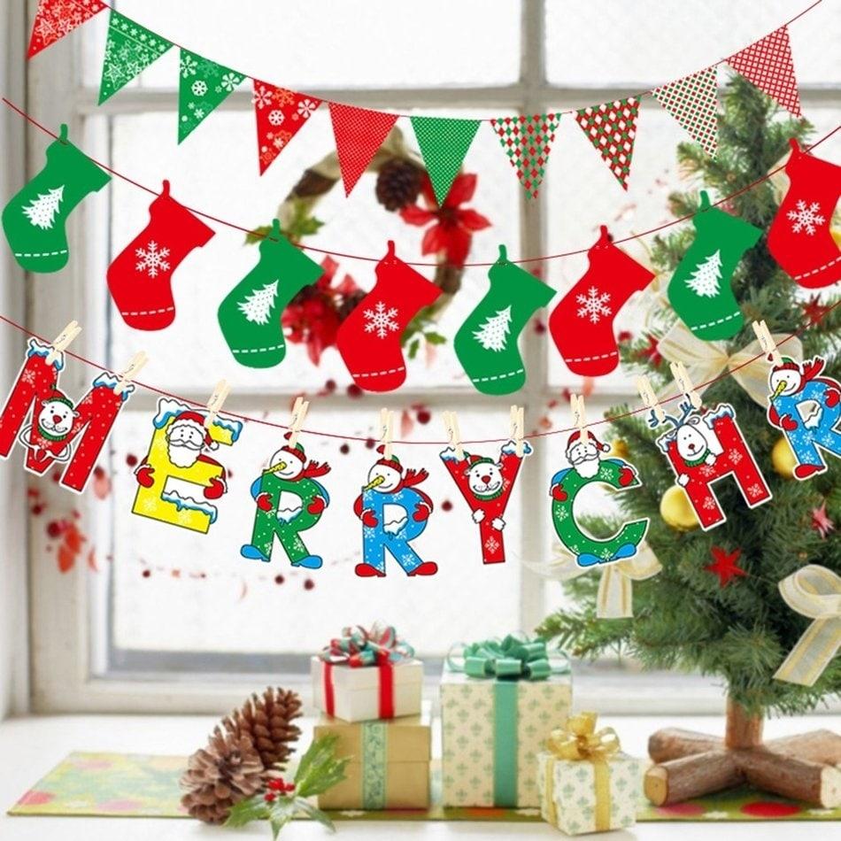Shop Christmas Decoration Supplies Cartoon Flag Bunting Holiday