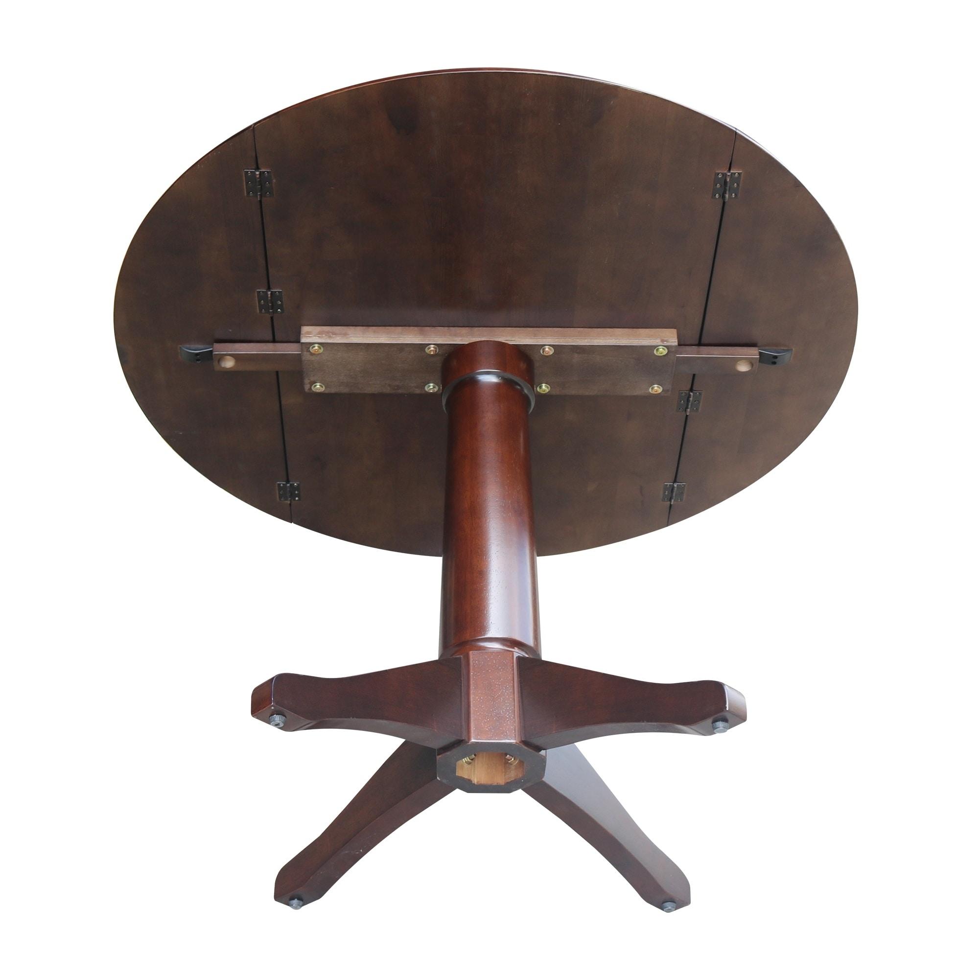 Shop 42 Round Dual Drop Leaf Pedestal Table In Rich Mocha Rich