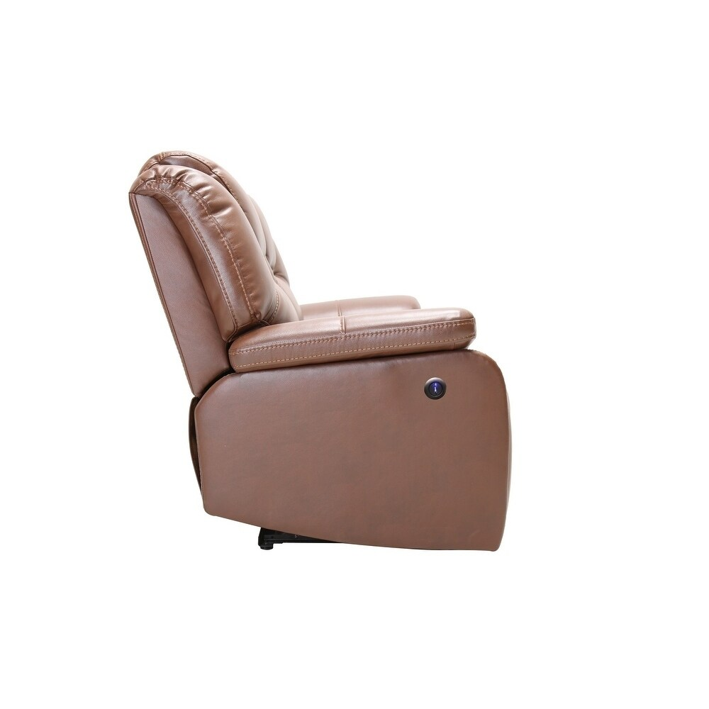 Brown Leather Upholstered Power Reclining Chair