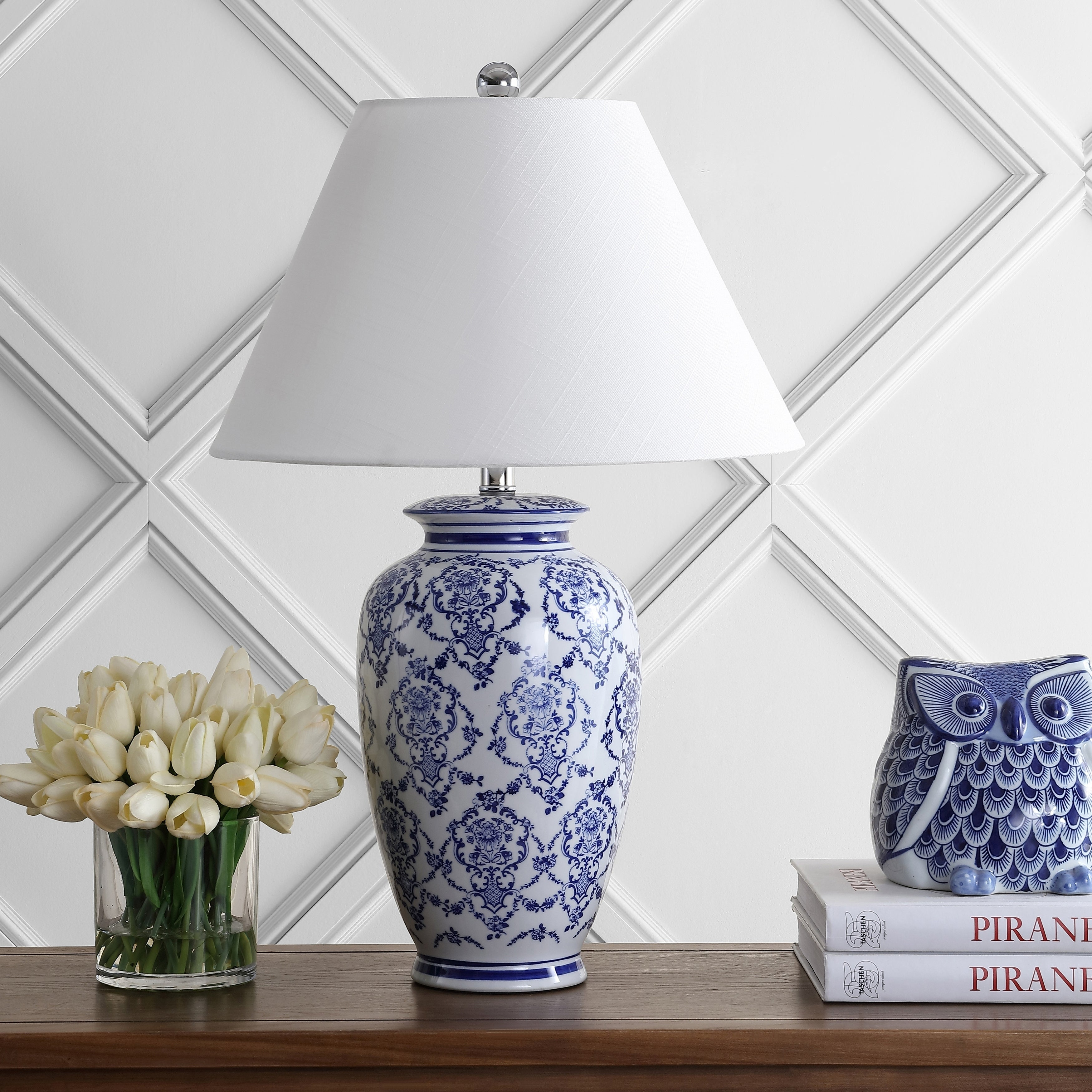 Picture of: Juliana 26 25 Chinoiserie Ceramic Led Table Lamp Blue White By Jonathan Y Overstock 25741194
