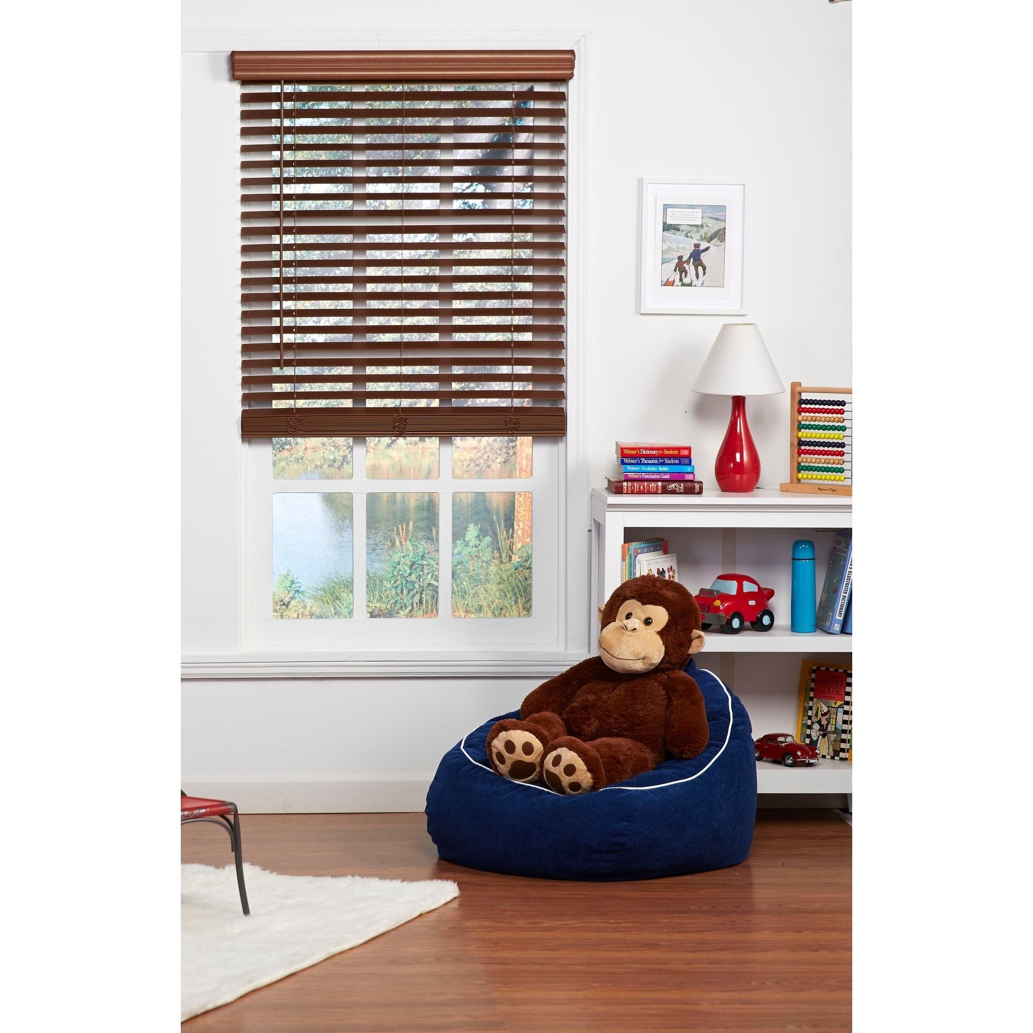 Shop Copper Grove Yerevan 64-inch Dark Oak Cordless Faux Wood Blind - Free Shipping Today - Overstock - 25745948