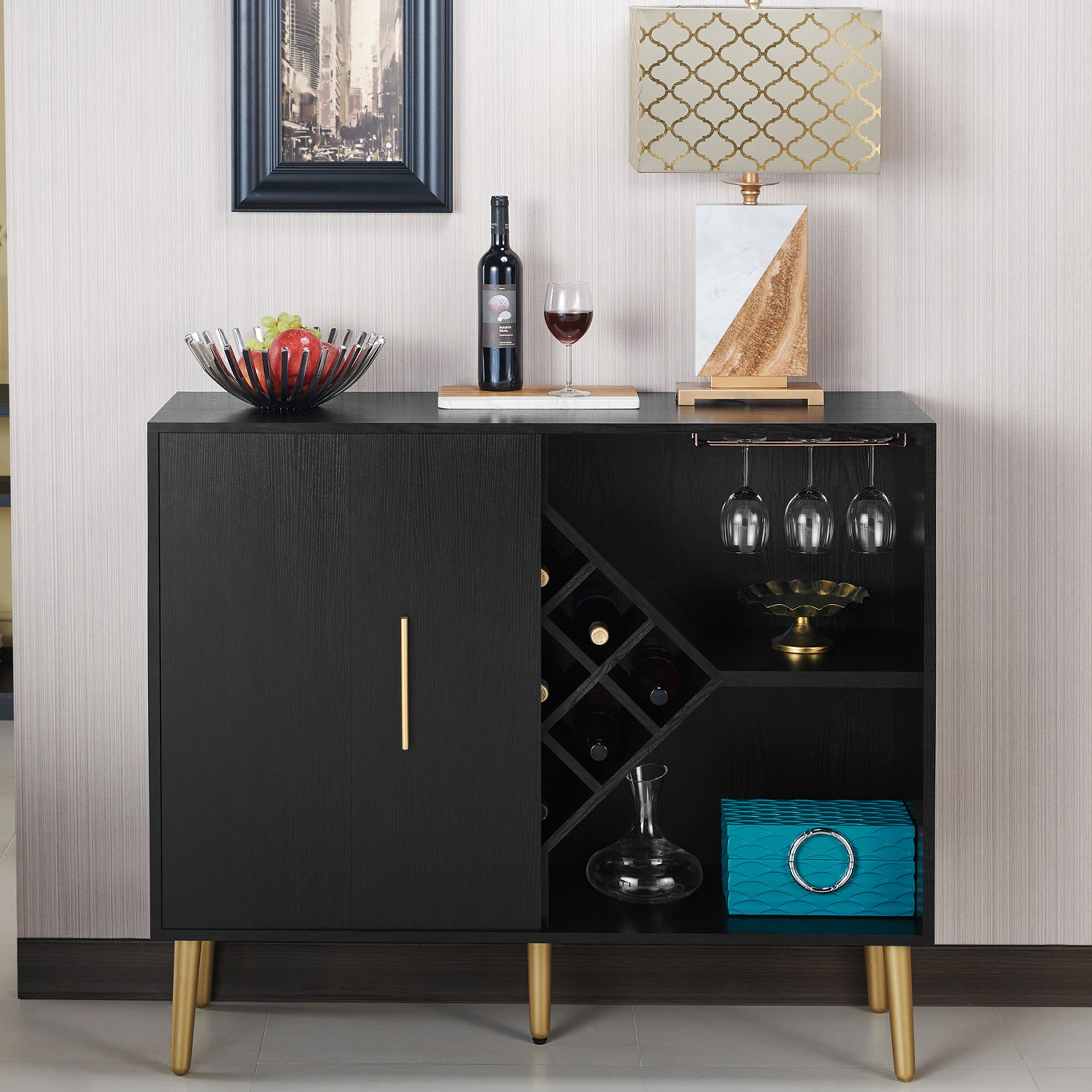 Furniture of america zeta modern black storage buffet with wine rack