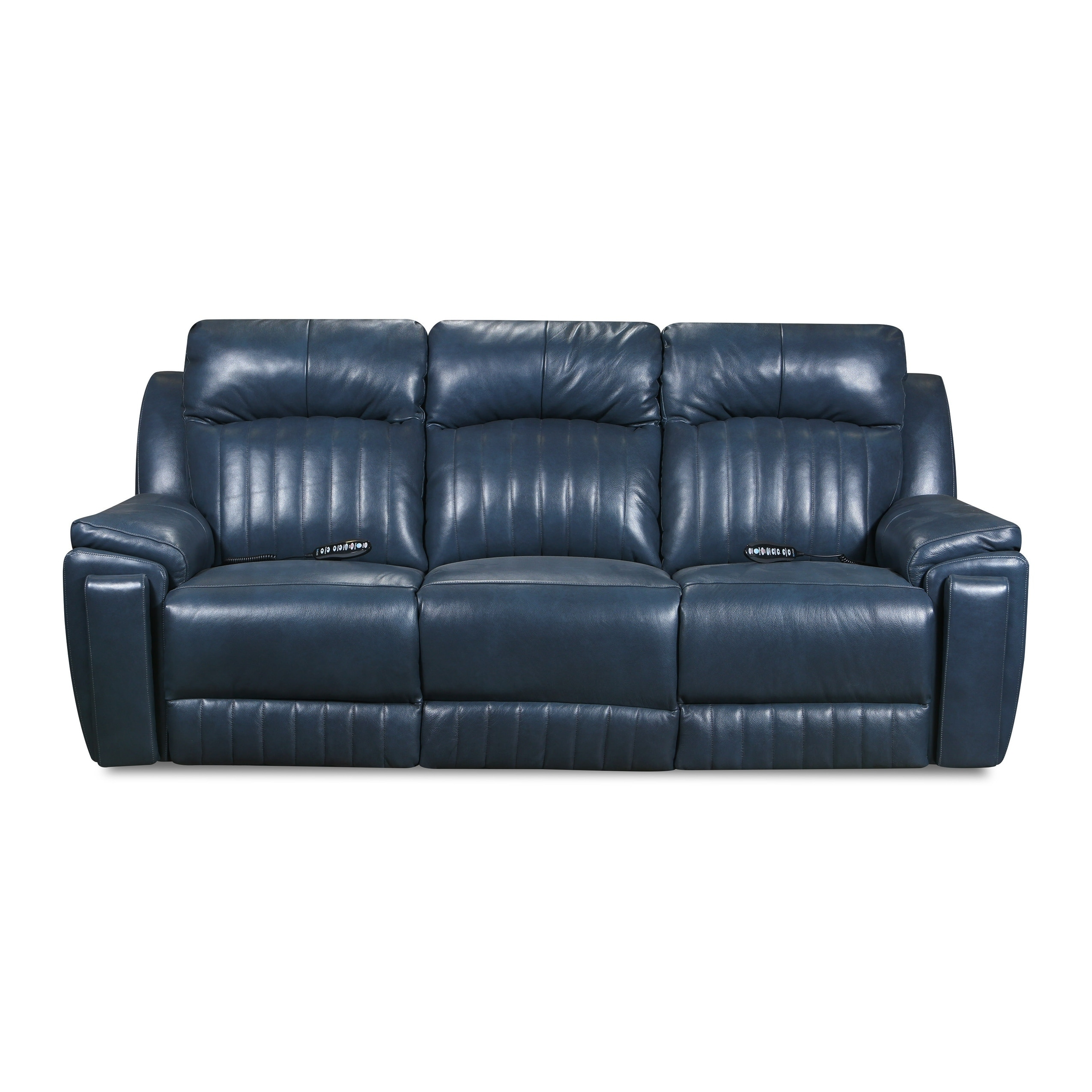 Shop Silver Screen Socozi Blue Leather Reclining Sofa With Massage