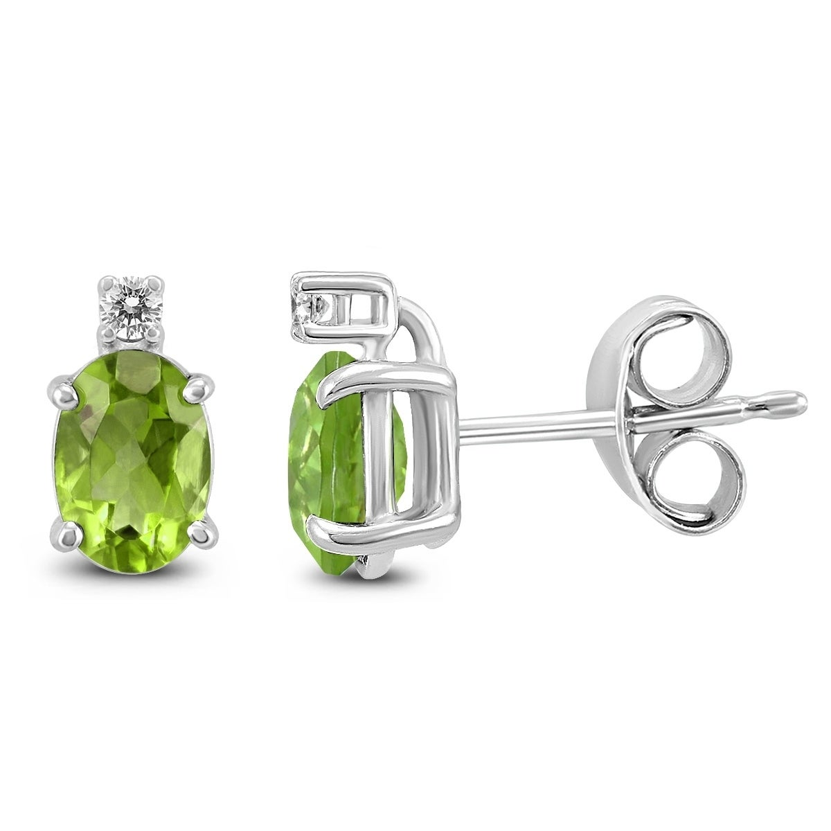 14k White Gold 7x5mm Oval Peridot And Diamond Earrings On Free Shipping Today 25770692