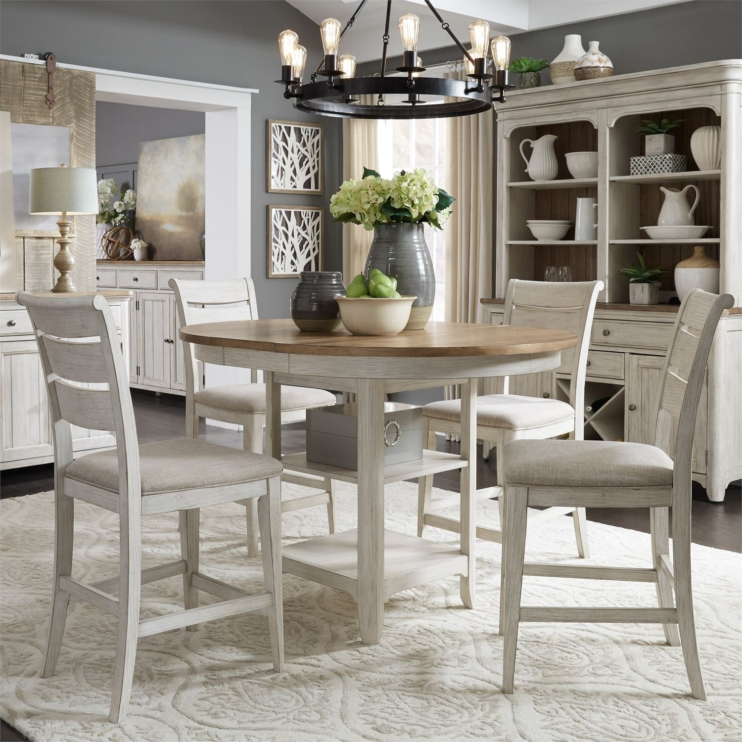 Shop Farmhouse Reimagined Antique White 5-piece Gathering Table Set - On  Sale - Free Shipping Today - Overstock.com - 25770890 - Shop Farmhouse Reimagined Antique White 5-piece Gathering Table Set