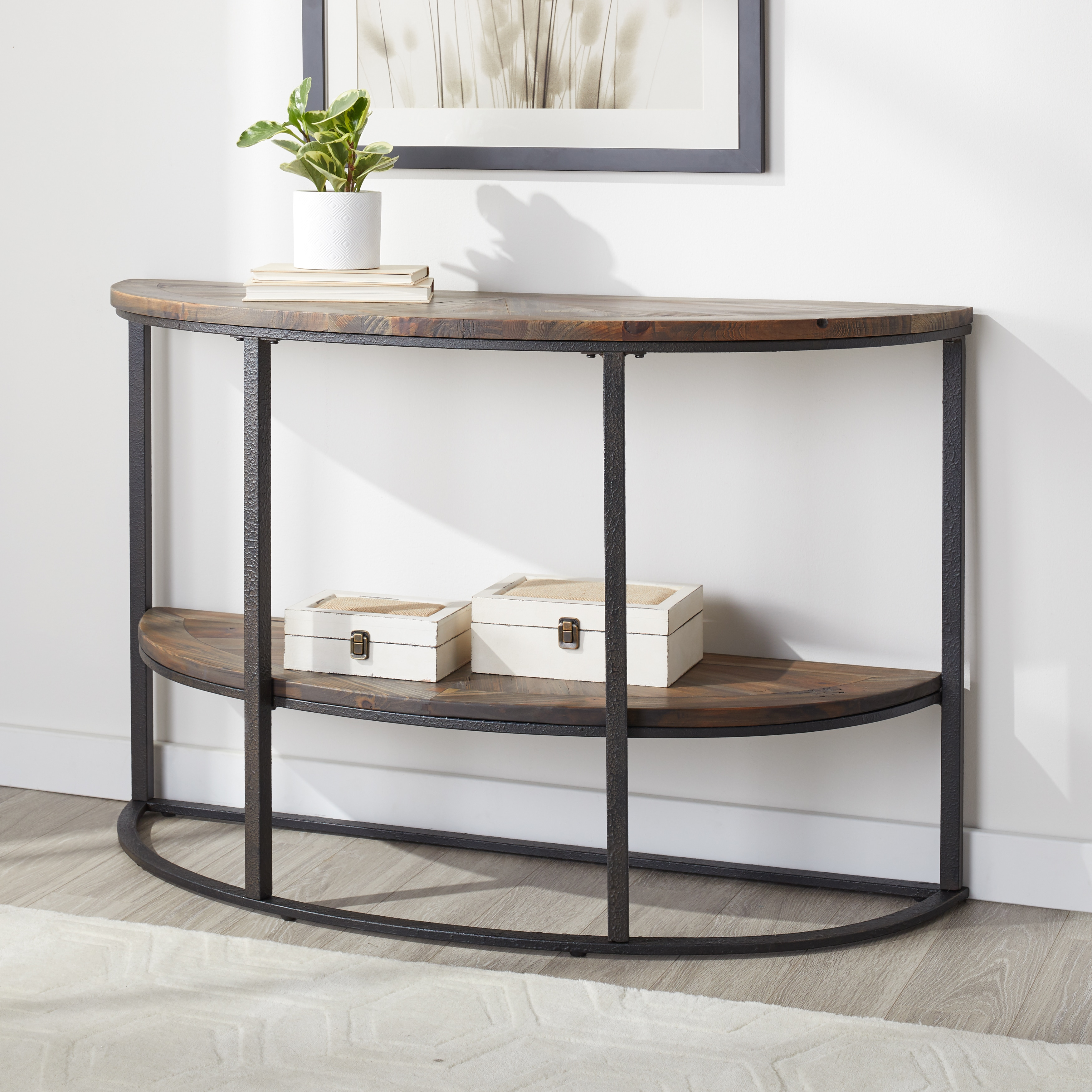 Picture of: Shop Black Friday Deals On Carbon Loft Reclaimed Grey Semi Circle Sofa Table Overstock 25776428
