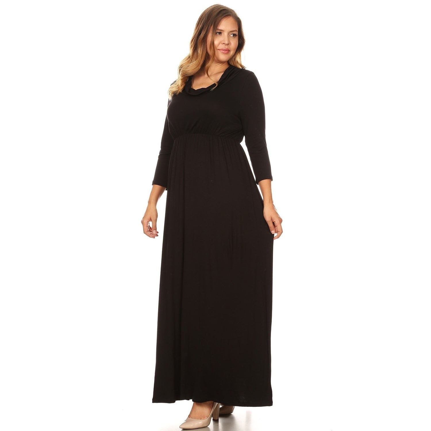 Women\'s Casual Solid Loose Fit Modest Wear Plus Size Pleated Long Maxi Dress