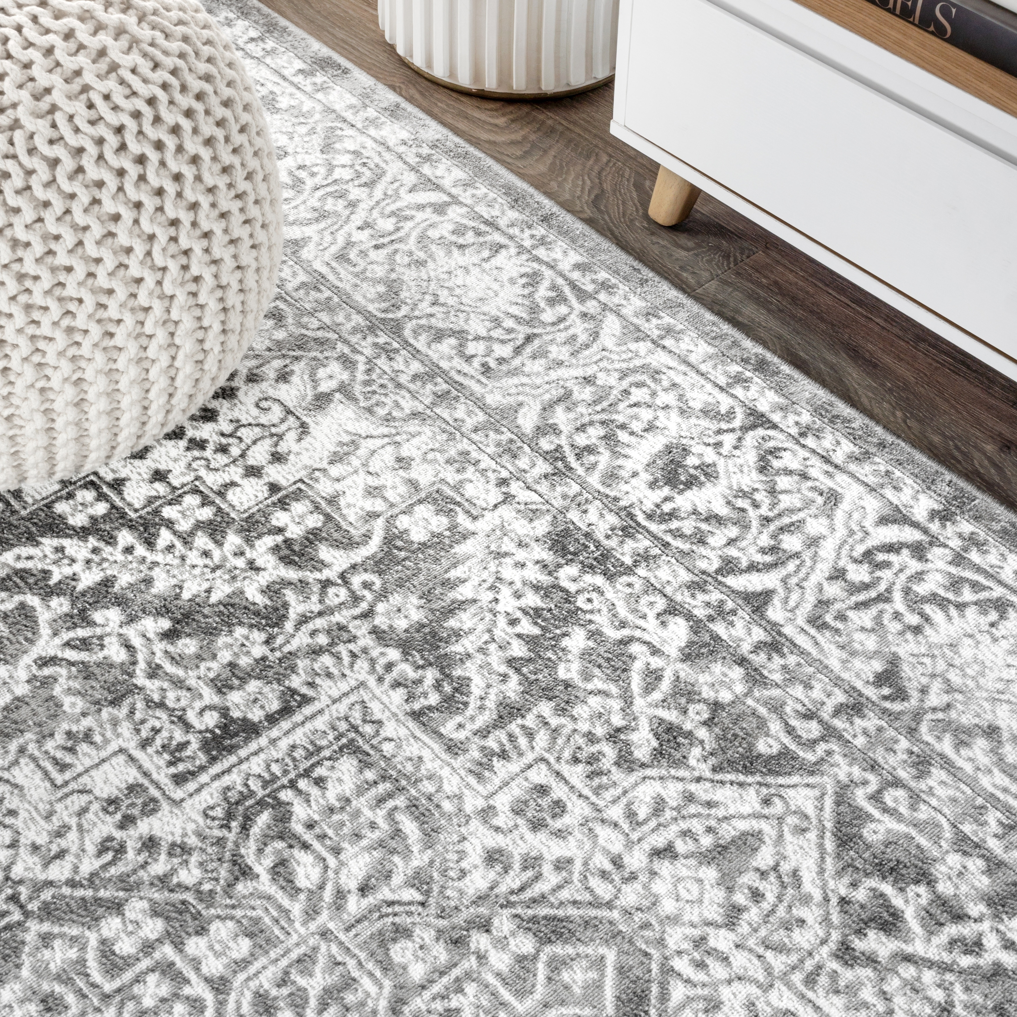 59f03745 Shop The Gray Barn Rhys Persian Vintage Medallion Light Grey Distressed  Area Rug - Free Shipping On Orders Over $45 - Overstock - 25896116