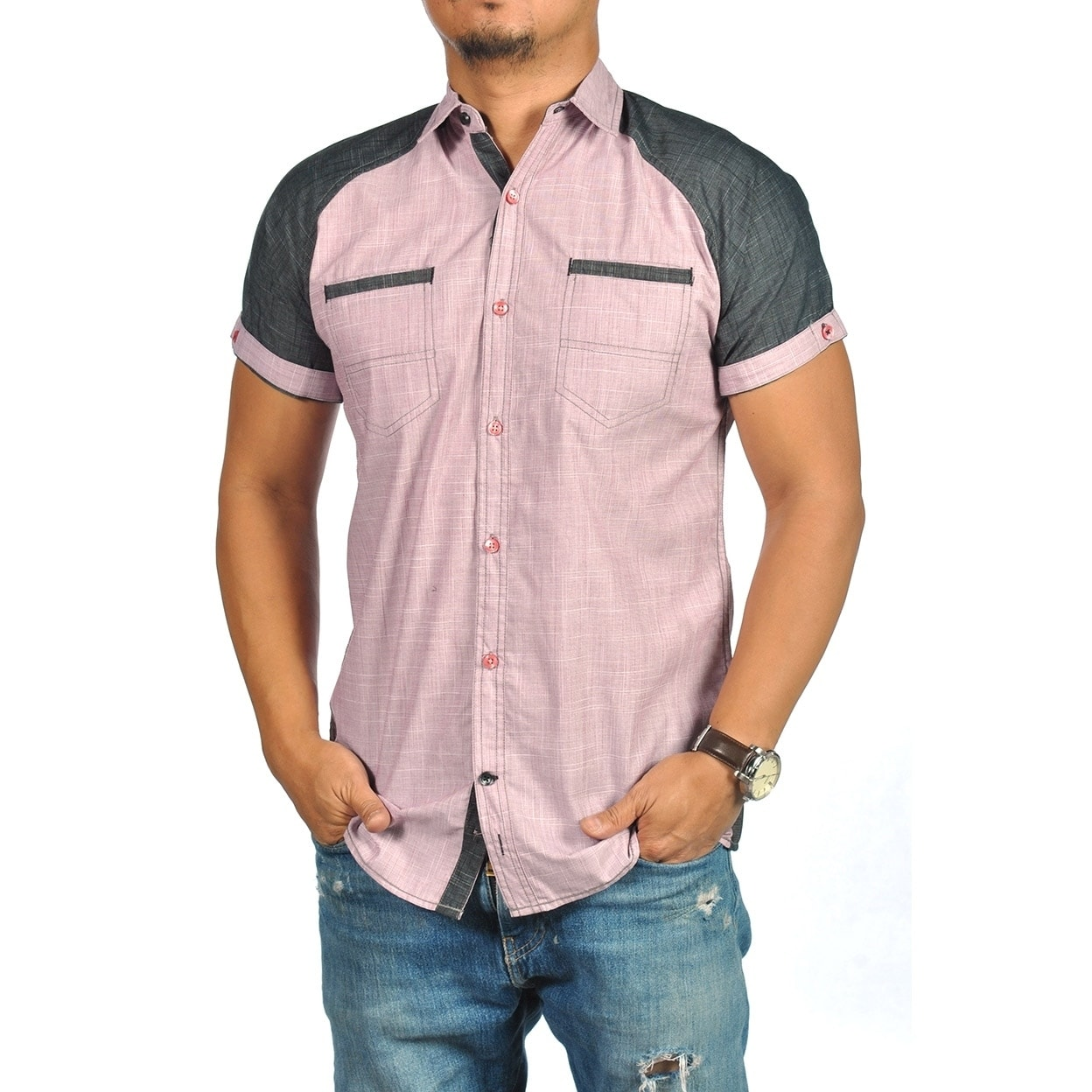 Shop Tranquility Mens Short Sleeve Button Down Shirt Merlot On