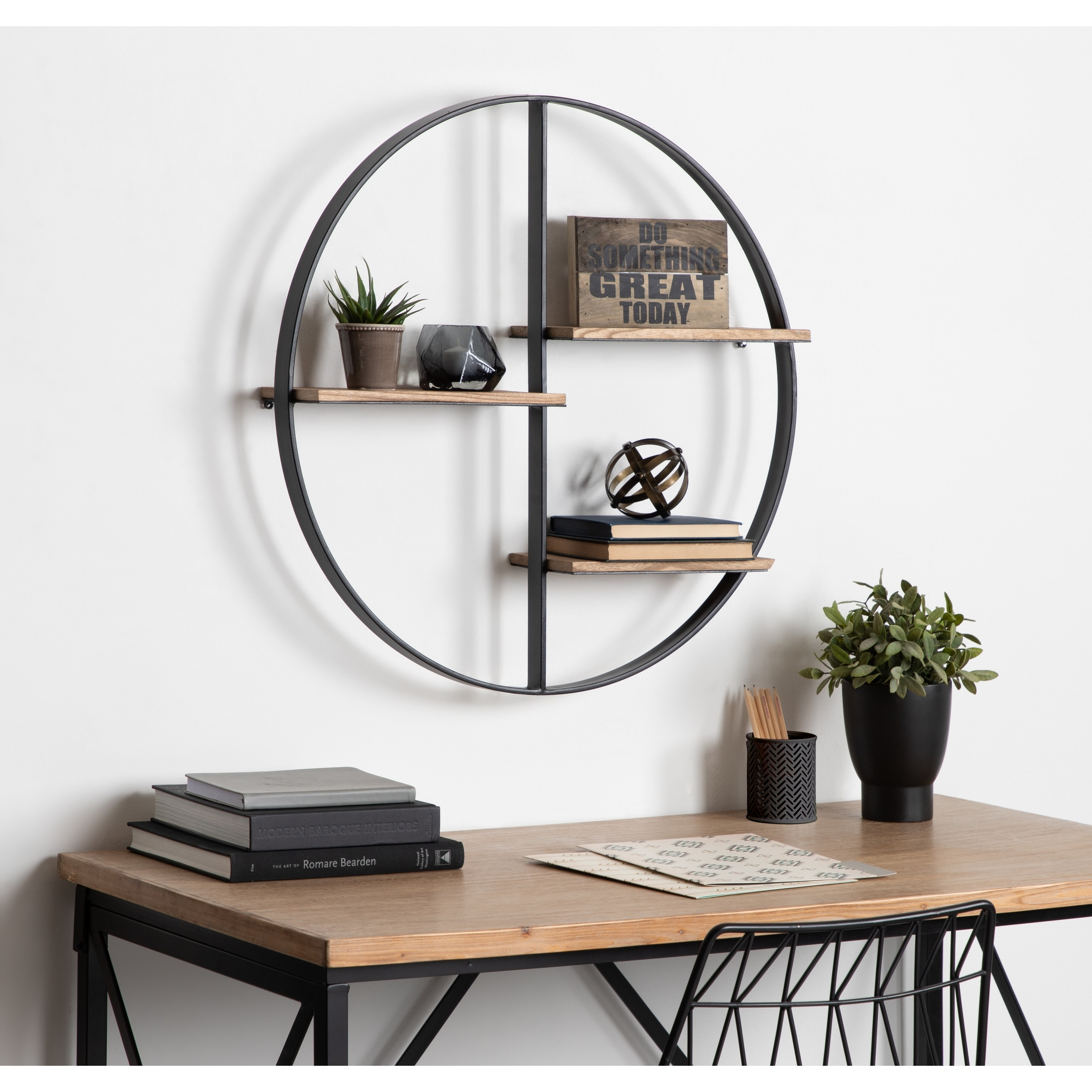Kate And Laurel Ladd Black And Brown Metal And Wood Round Floating Shelf  Unit   27 X 27 X 5