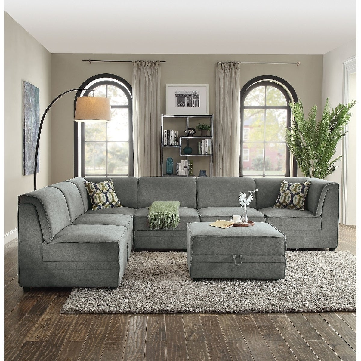 Shop linkuva 7 piece modular sectional sofa upholstered in grey velvet free shipping today overstock com 25980313