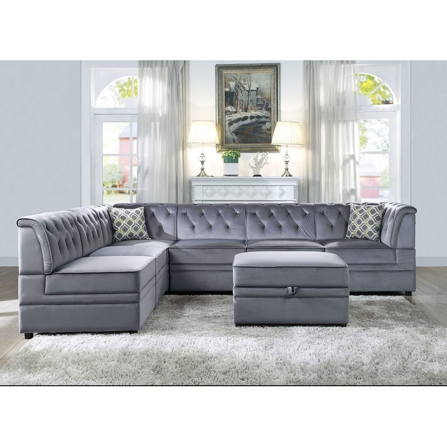 Shop Simnas 7 Piece Modular Sectional Sofa Upholstered In Grey