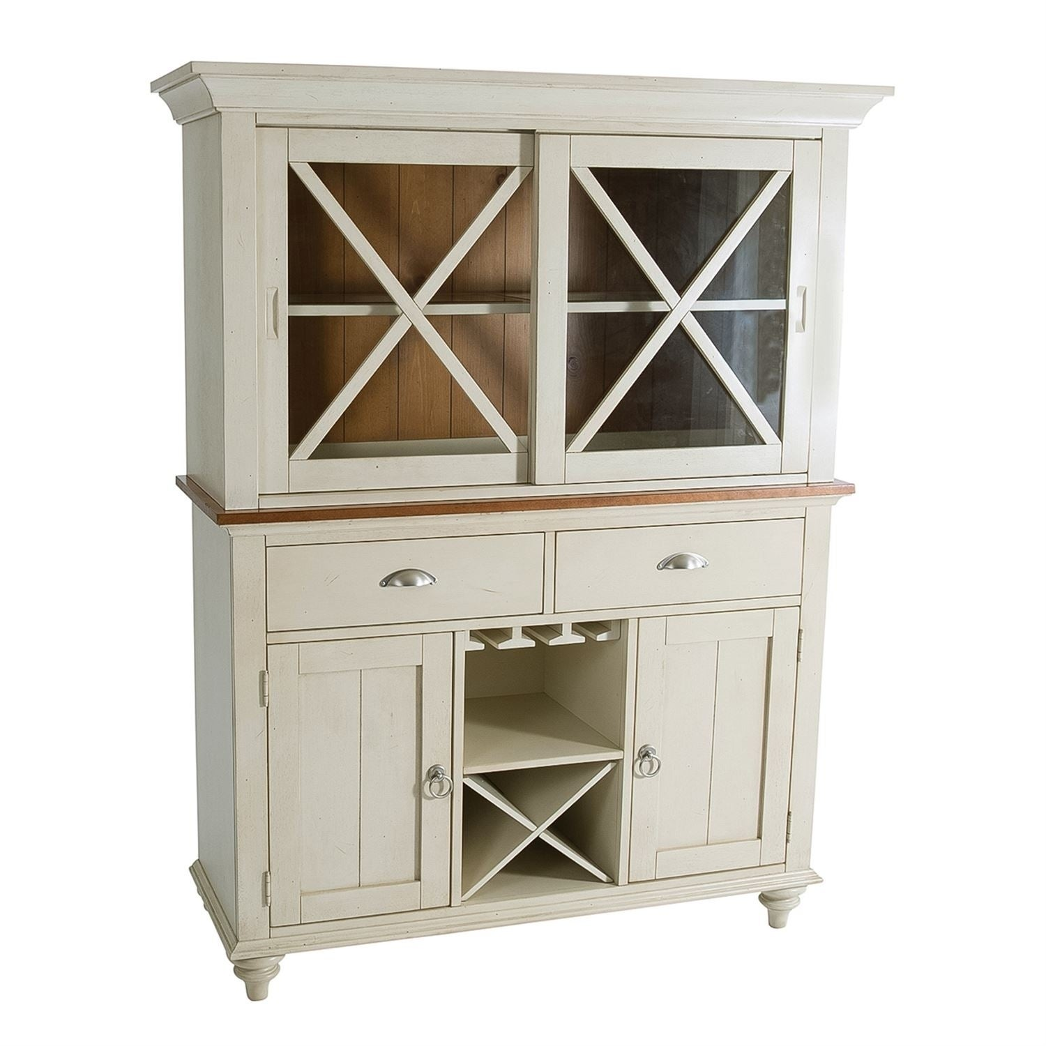 Ocean Isle Bisque With Natural Pine Hutch And Buffet