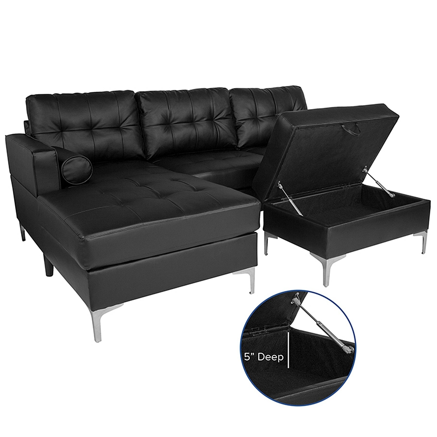 Shop Bellmore 3-Piece Black Leather Sectional Sofa with Left Facing ...