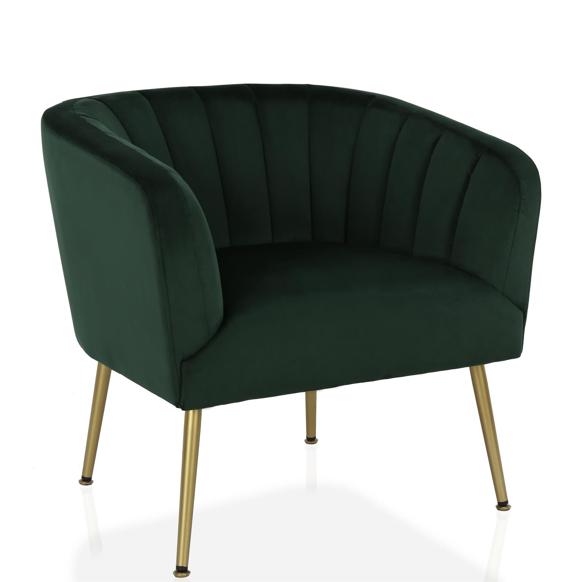 Shop CosmoLiving By Cosmopolitan Owsley Channel Back Green Accent Chair  With Gold Legs   Free Shipping Today   Overstock   26037080
