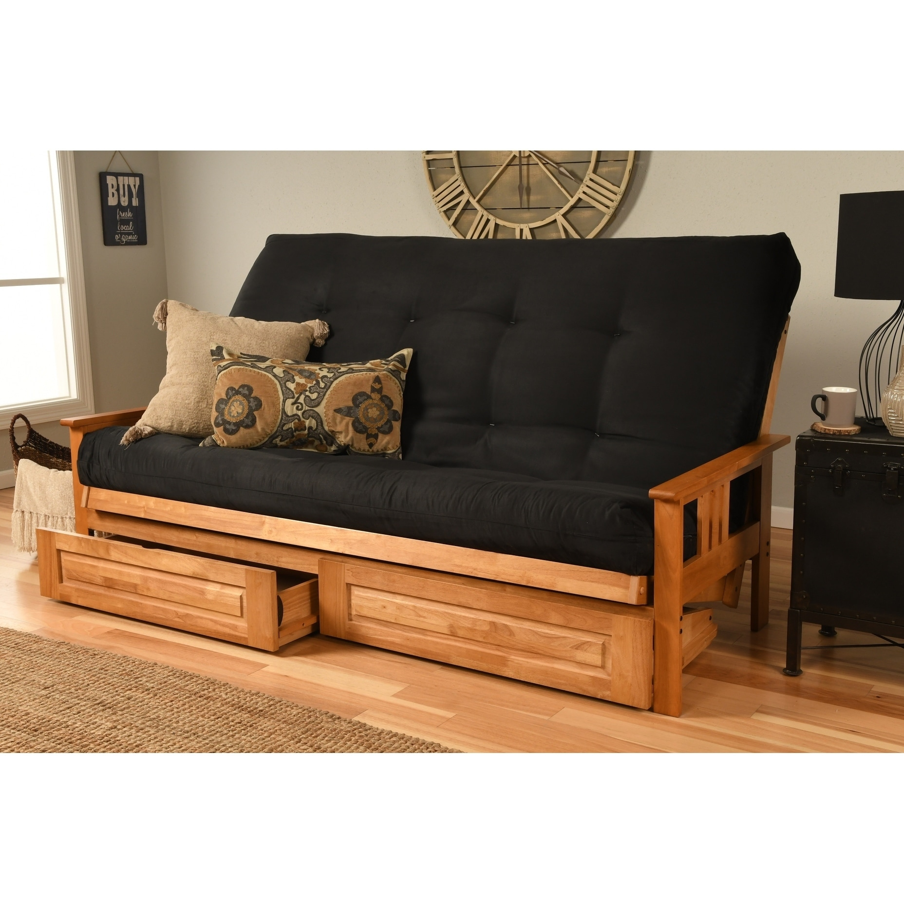 Superieur Queen Size Futon With Butternut Finish, Storage Drawers And Suede Mattress