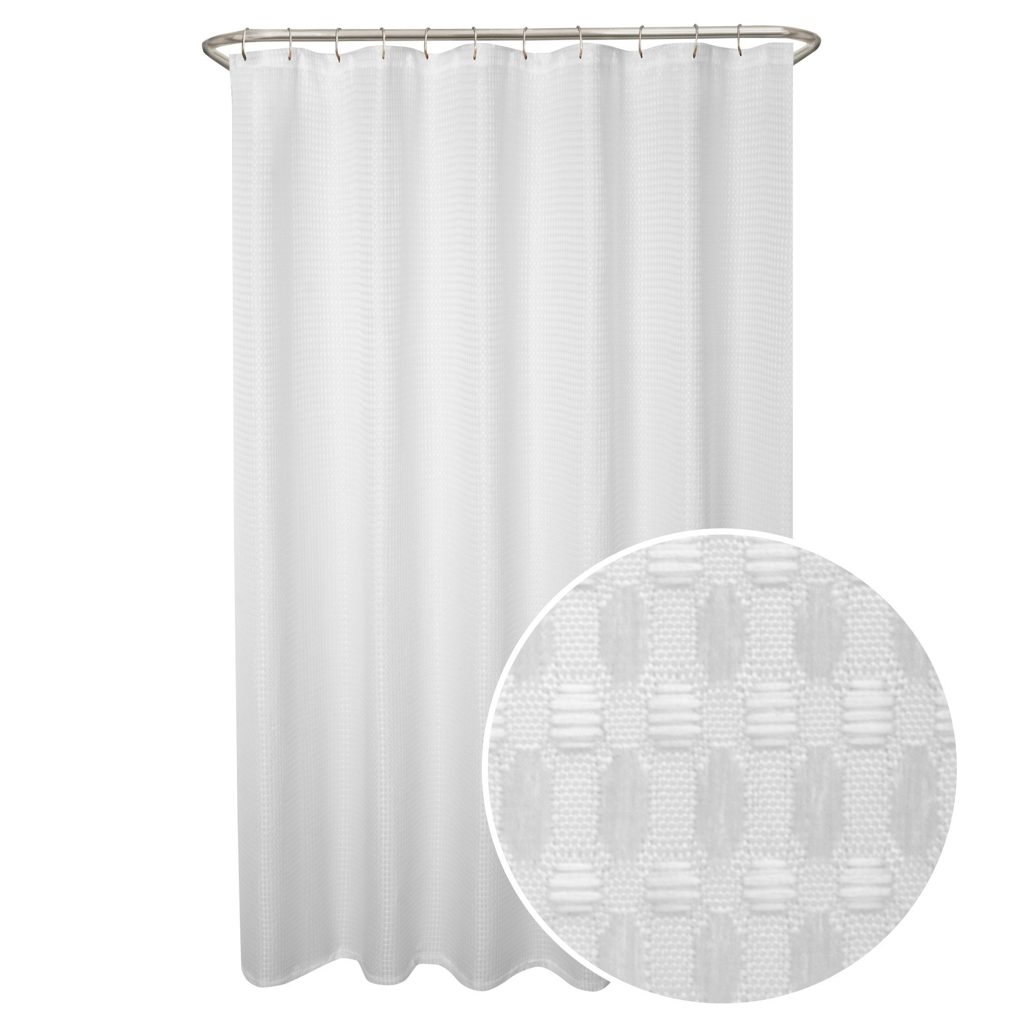 Maytex Stevenson Waffle Fabric Shower Curtain