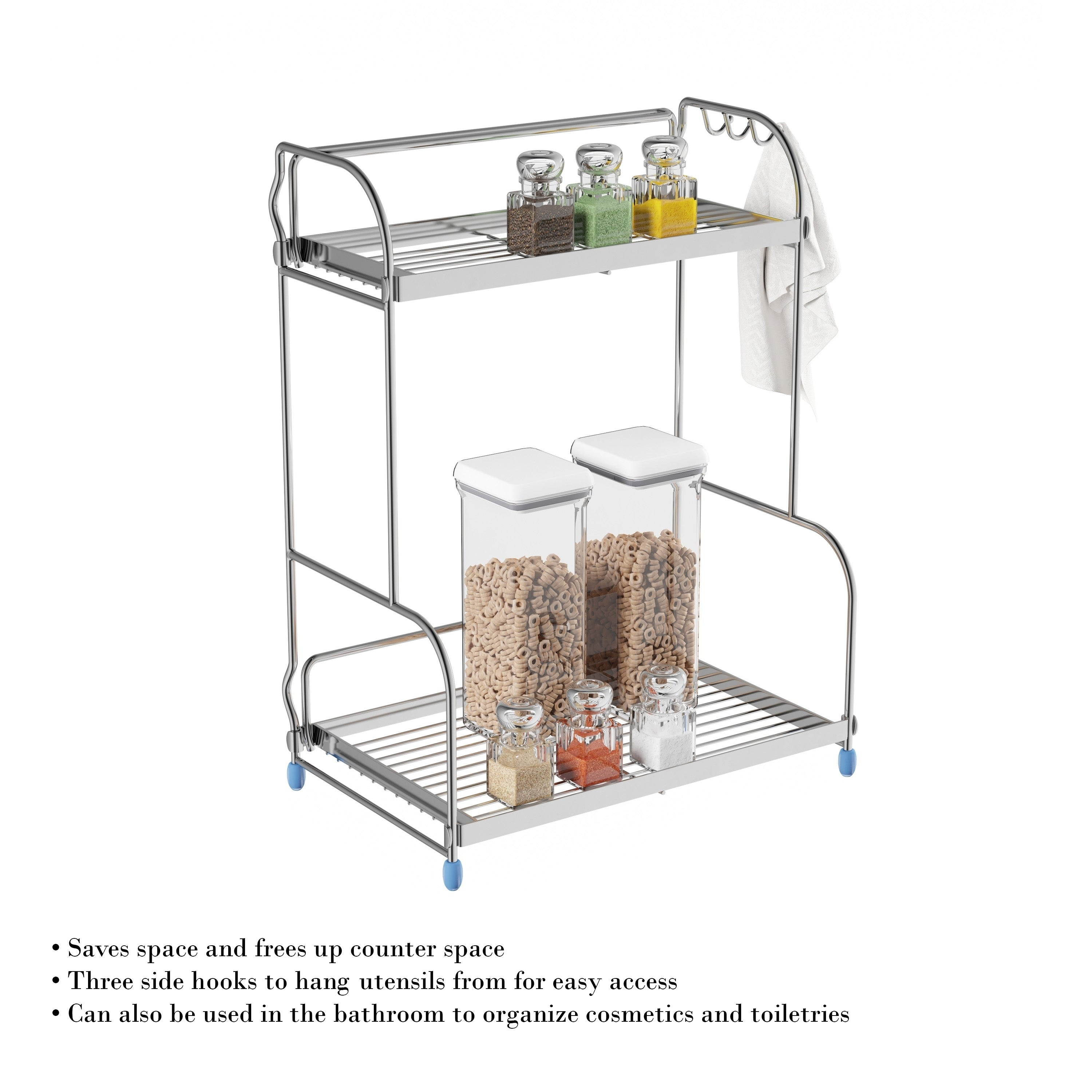 Outstanding 2 Tiered Countertop Storage Shelves With 3 Side Hook By Lavish Home Interior Design Ideas Clesiryabchikinfo