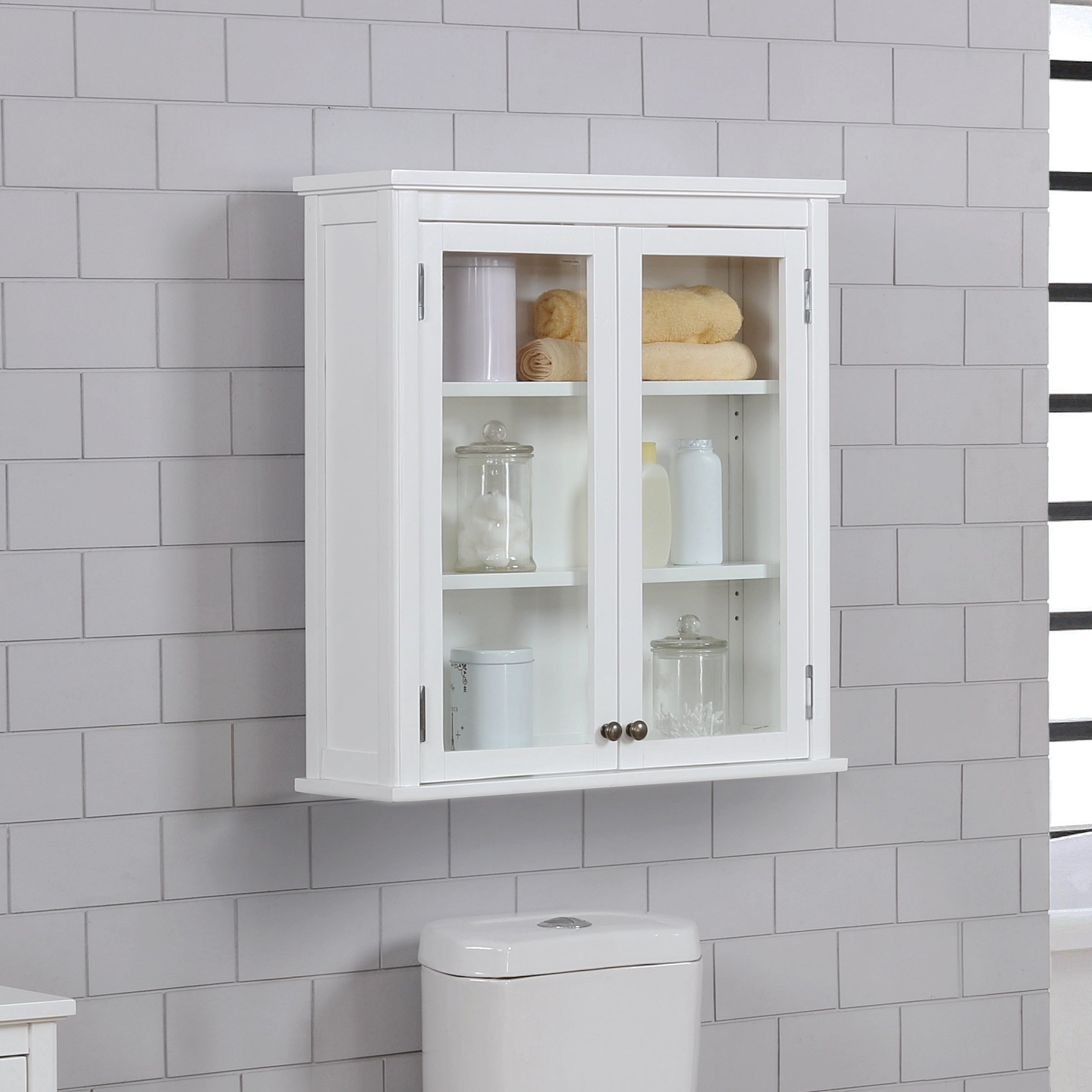 Porch Den Everest Wall Mounted 27 X 29 Bath Storage Cabinet With Glass Cabinet Doors Overstock 26050432