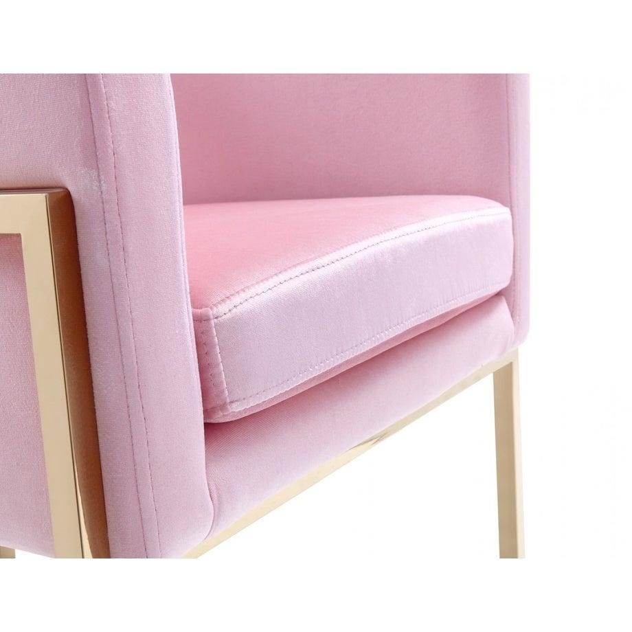 Shop Modrest Betsy Modern Pink Velvet Gold Dining Chair On Sale