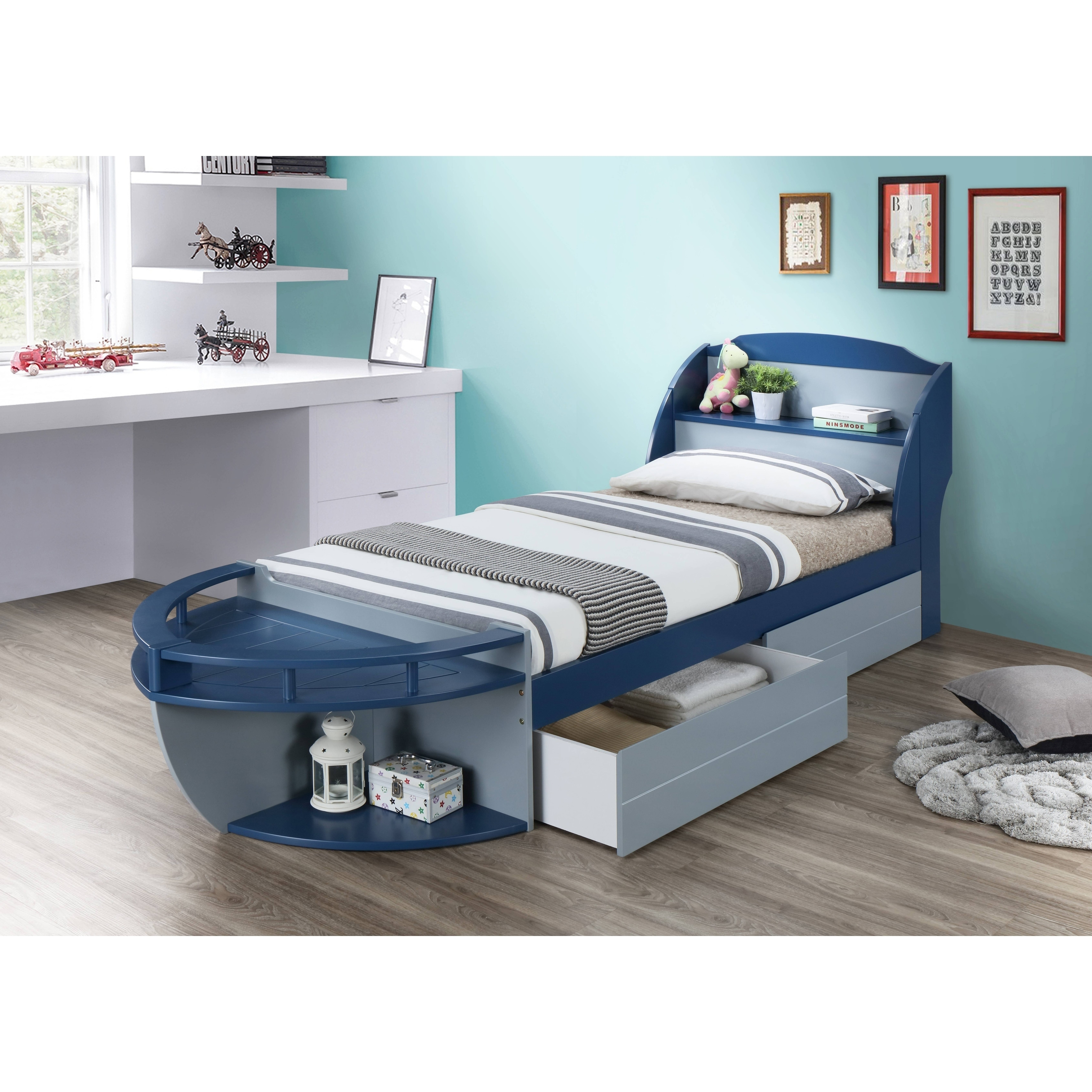 Shop ACME Neptune II Twin Bed Gray & Navy Free Shipping Today