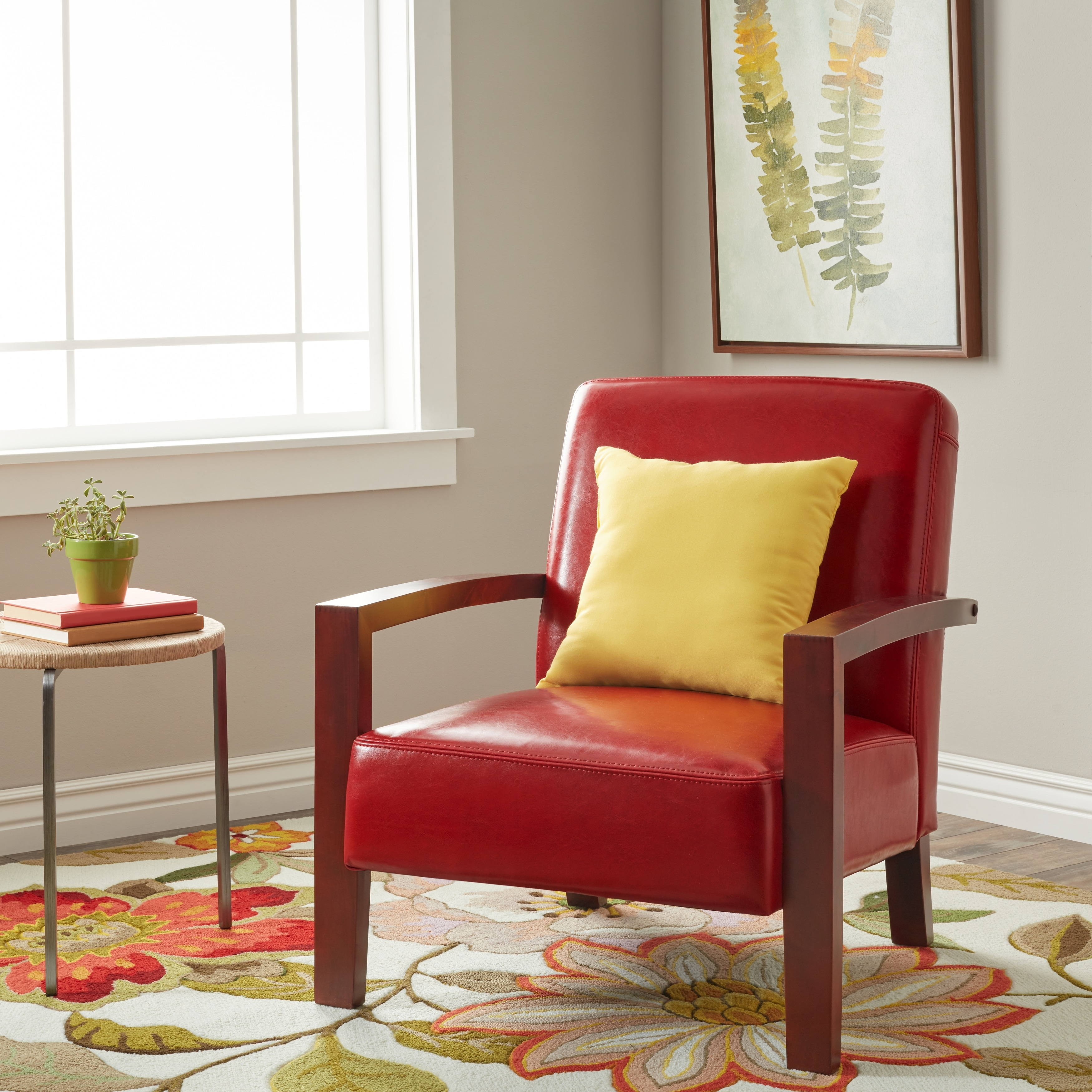 Shop Porch Den Roadster Burnt Red Leather Lounge Chair Free