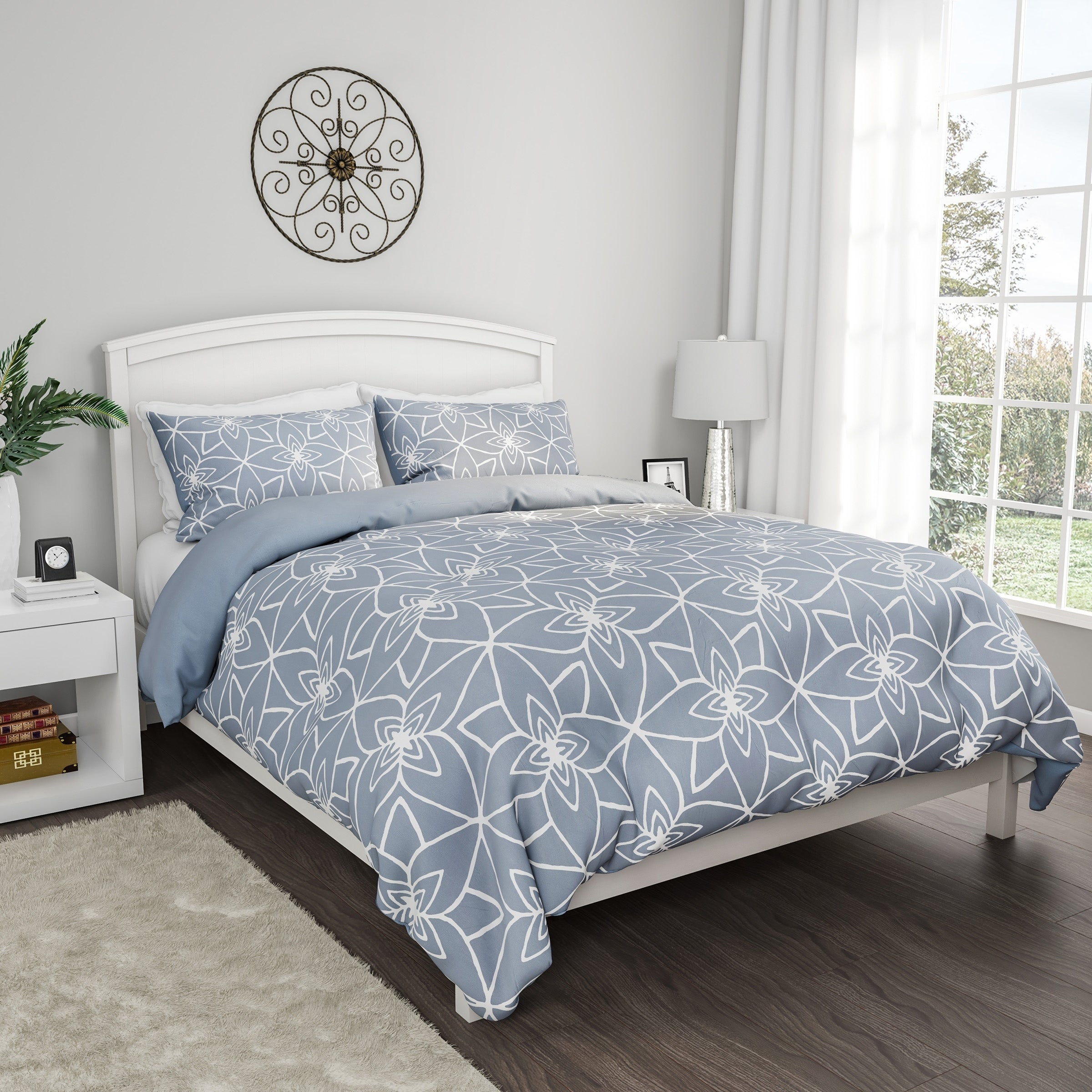 JQinHome Full 3-Piece Galaxies Dark Blue Comforter Sets Includes 1 Comforter All-Season Down Alternative Quilted Duvet Reversible Design 2 Pillow Shams 3D Outer Space Themed