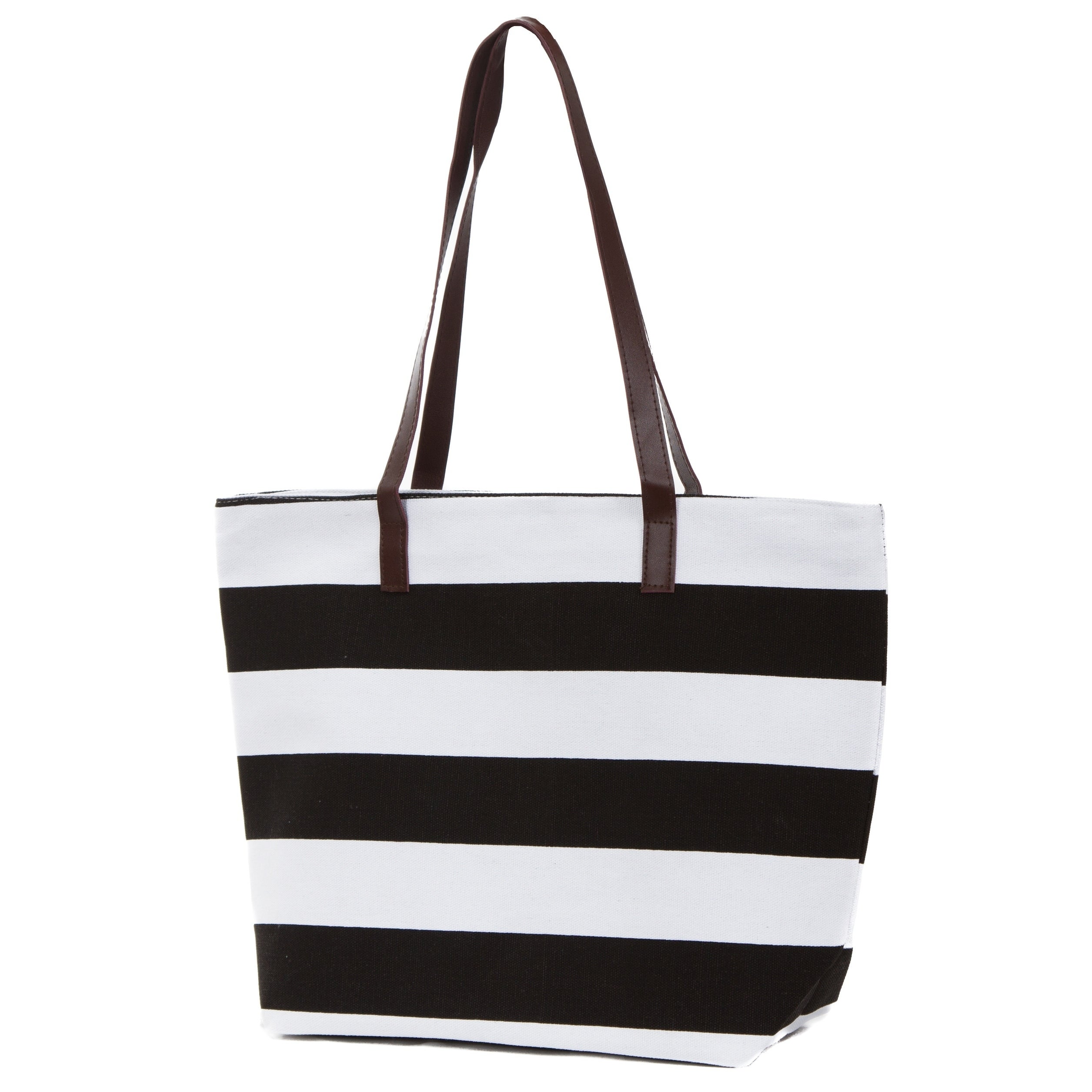 4b94c1795db Canvas Tote Bag, Striped Tote with Faux Leather Trim